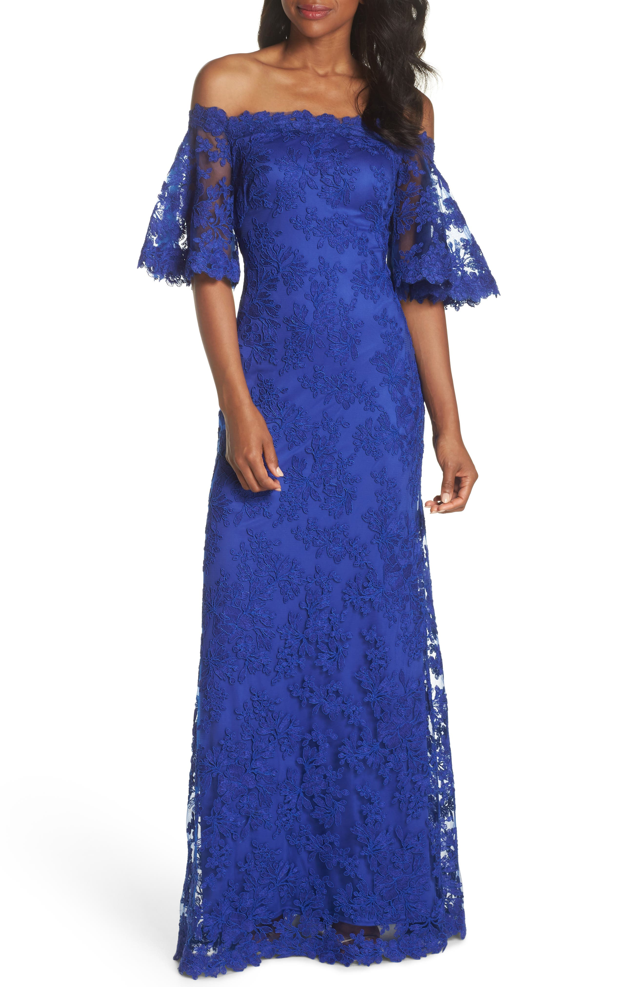 Off the Shoulder Lace Gown,                         Main,                         color, Royal Iris