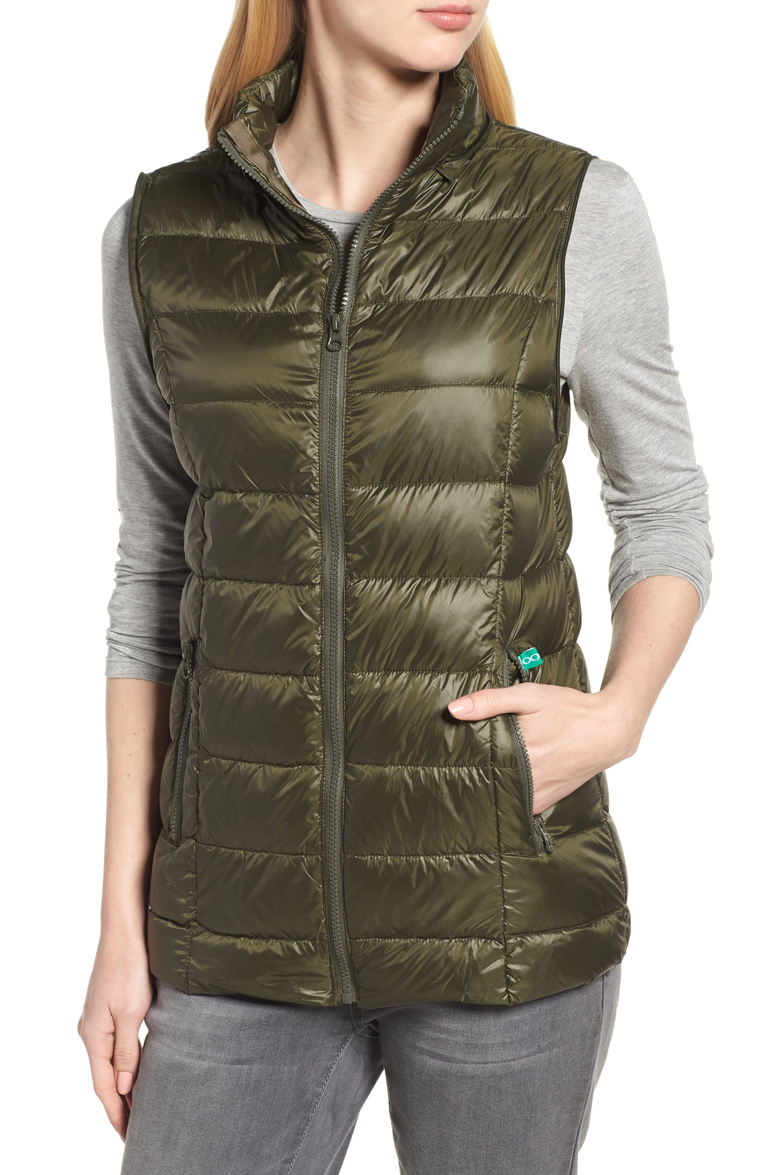 Lightweight Puffer Convertible 3-in-1 Maternity Jacket,                             Alternate thumbnail 6, color,                             Khaki Green