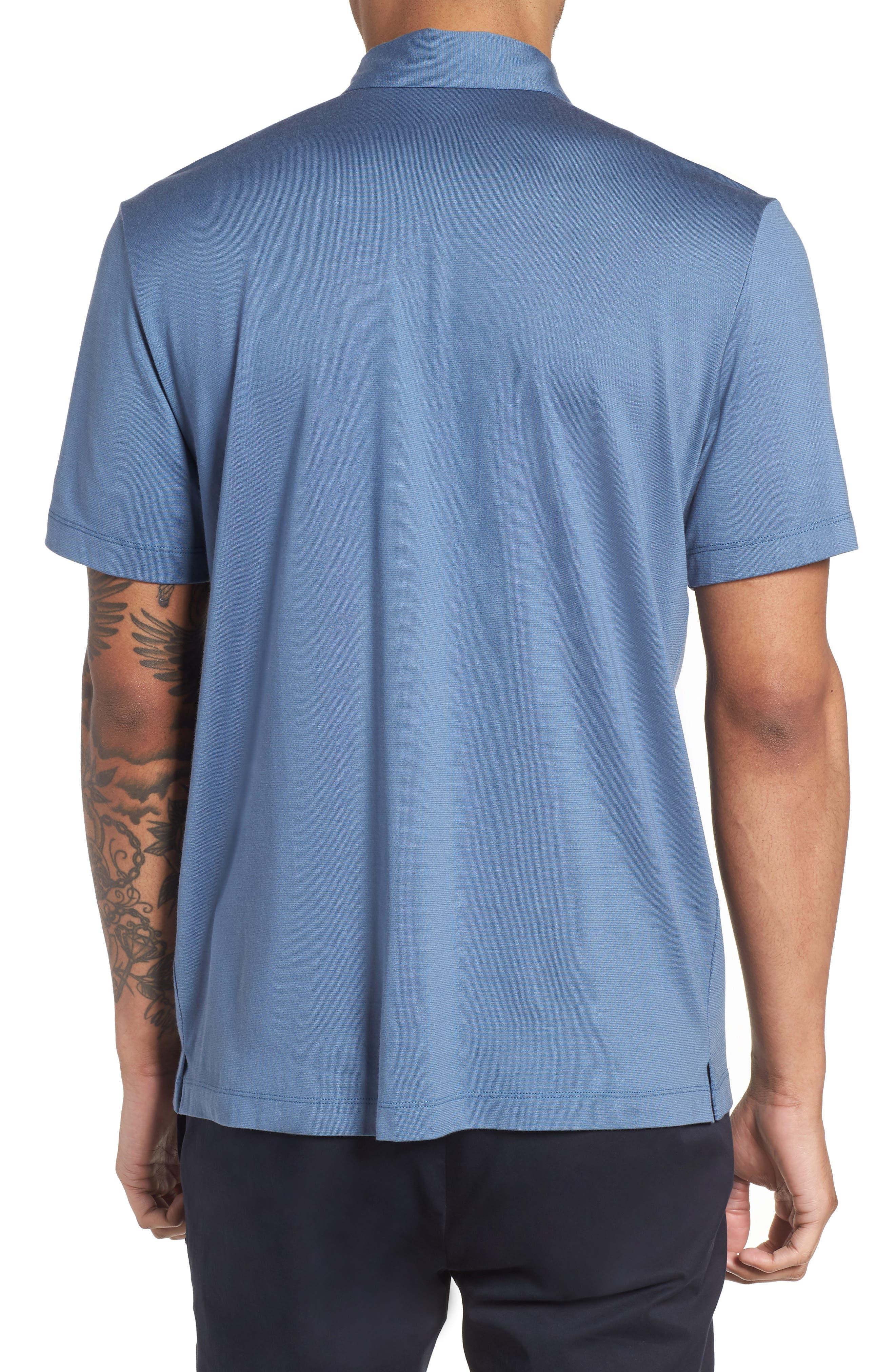 Incisive Silk & Cotton Short Sleeve Sport Shirt,                             Alternate thumbnail 2, color,                             Iris