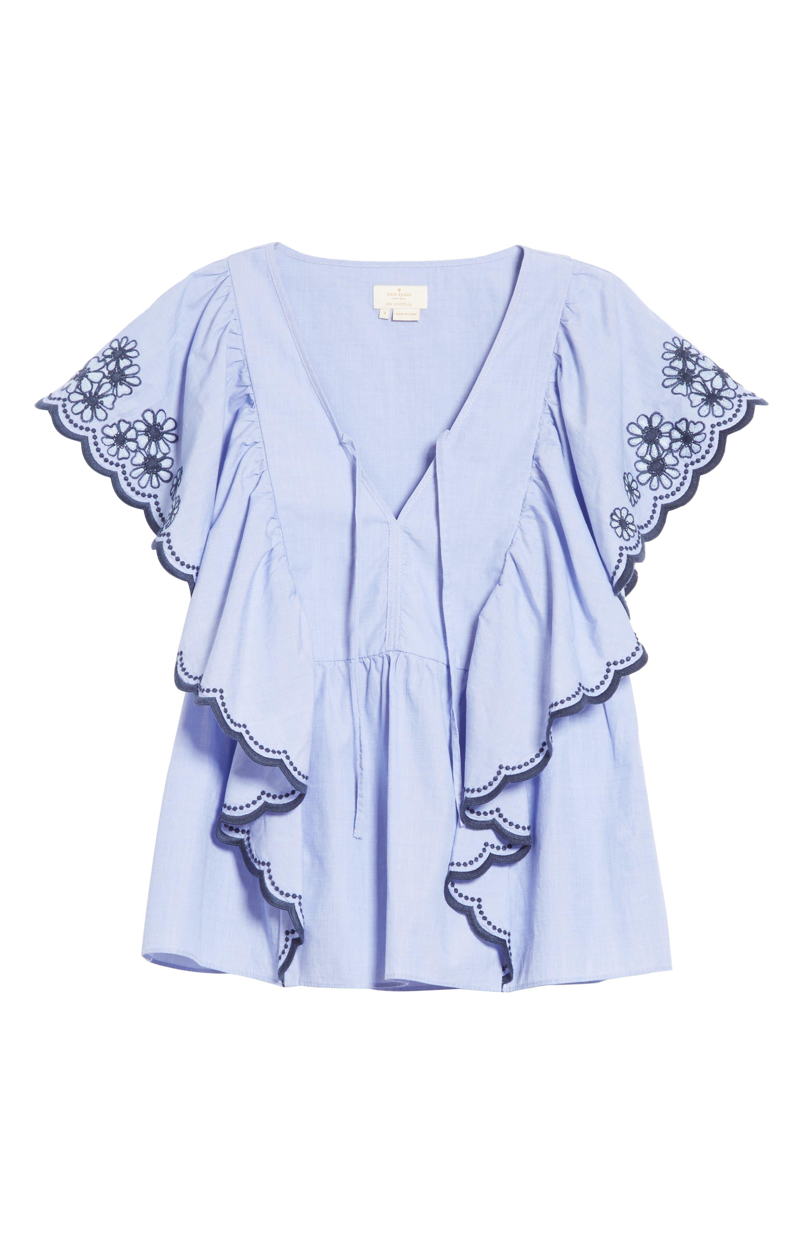 daisy embroidered cotton top,                             Alternate thumbnail 6, color,                             Ensemble Blue