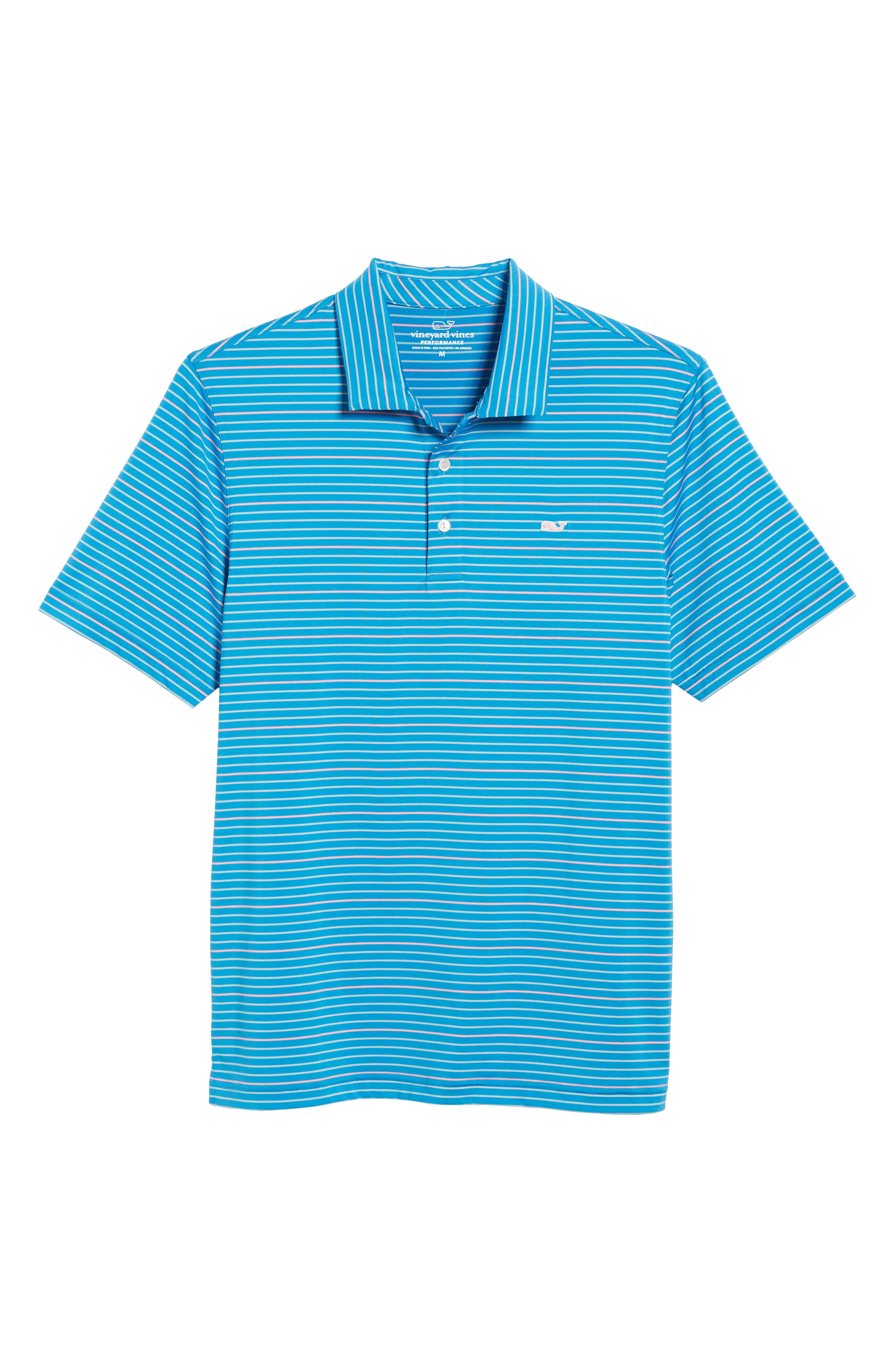 Swindell Stretch Stripe Polo,                             Alternate thumbnail 6, color,                             Dark Cerulean