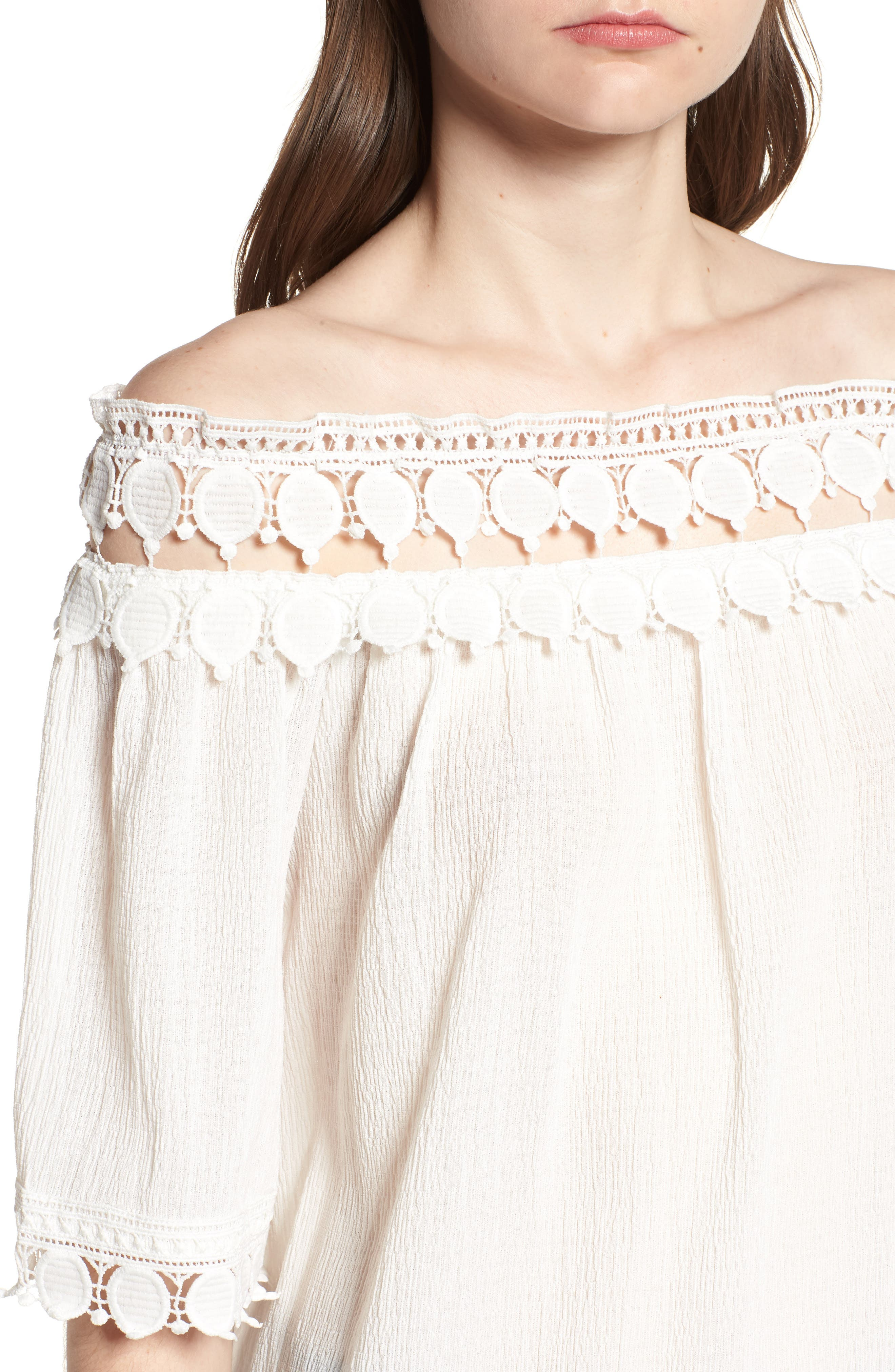 Bishop + Young Olivia Crochet Trim Off the Shoulder Top,                             Alternate thumbnail 4, color,                             White