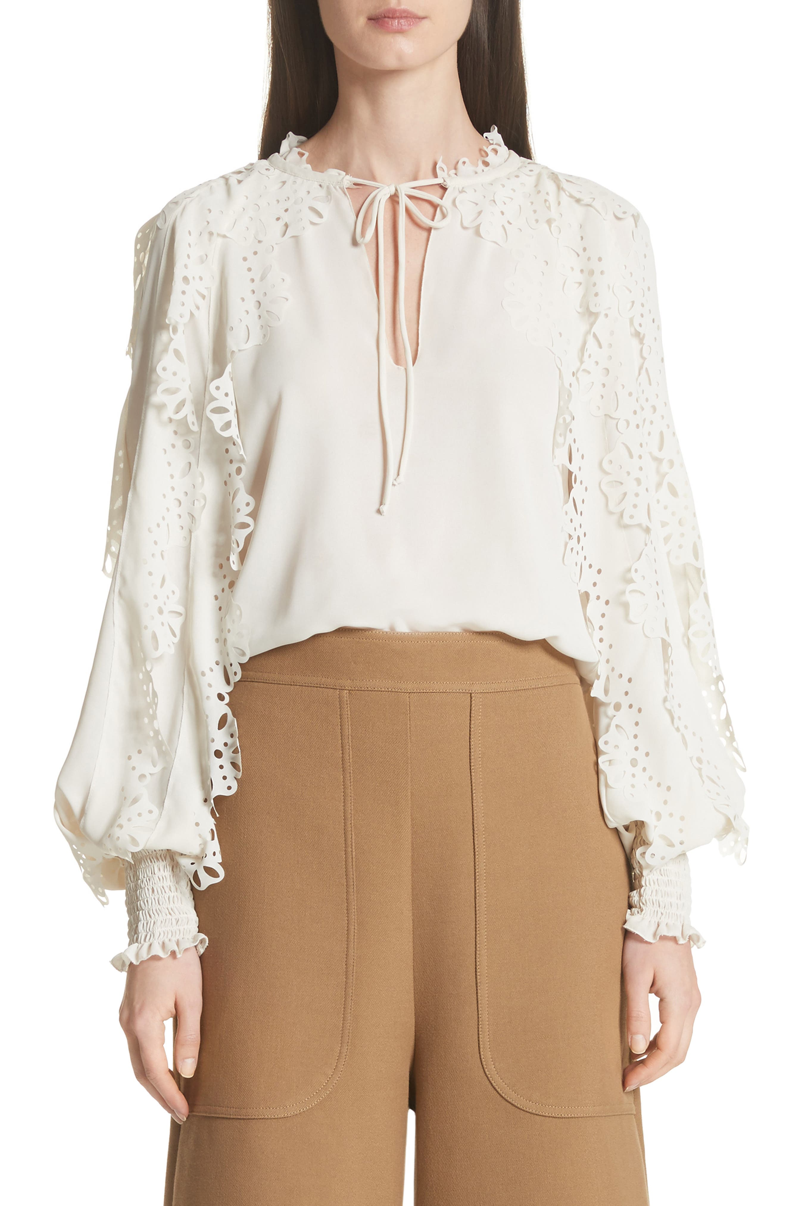 See by Chloé Eyelet Sleeve Blouse