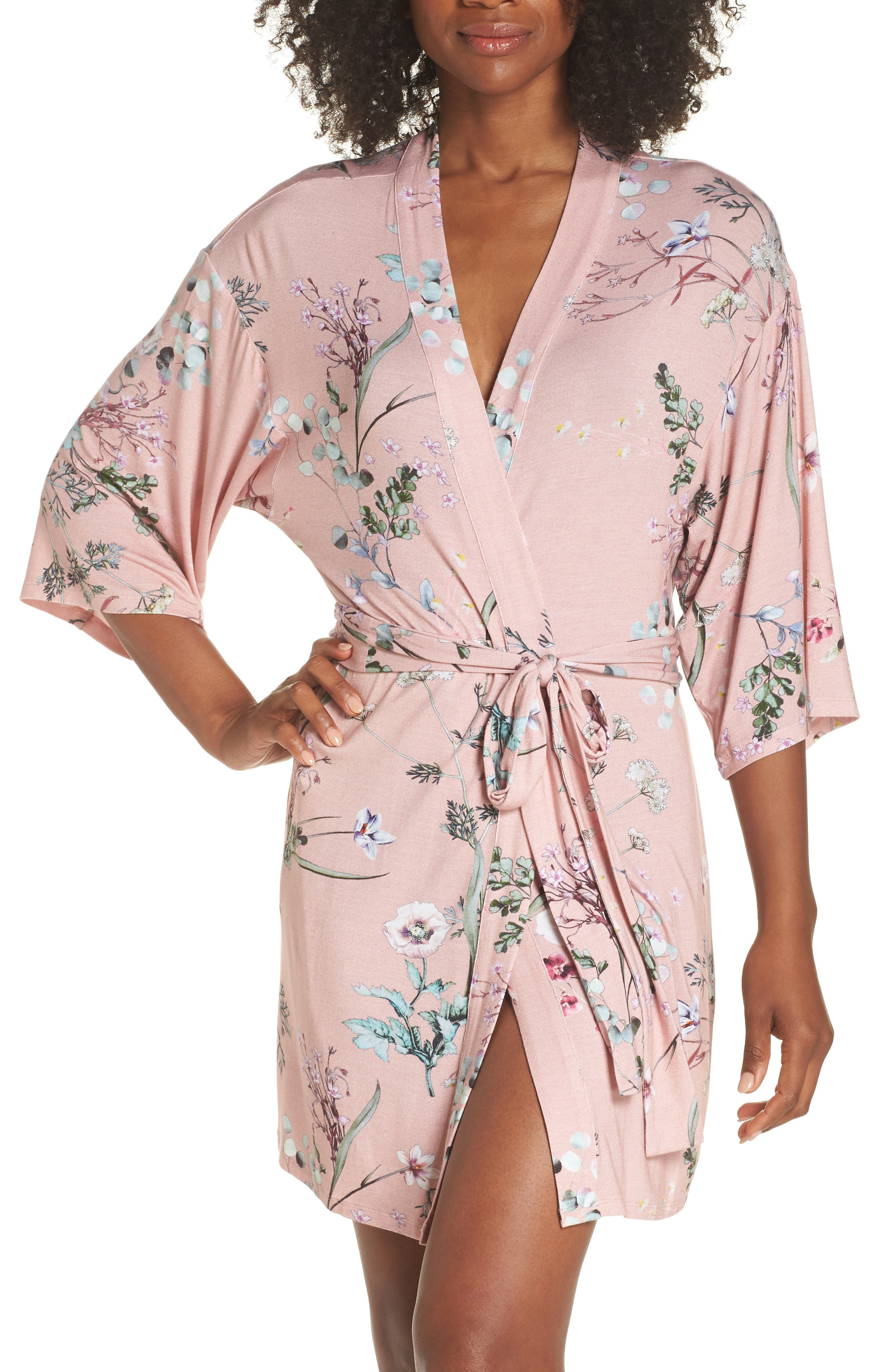 Floral Print Robe,                         Main,                         color, Terra Cota