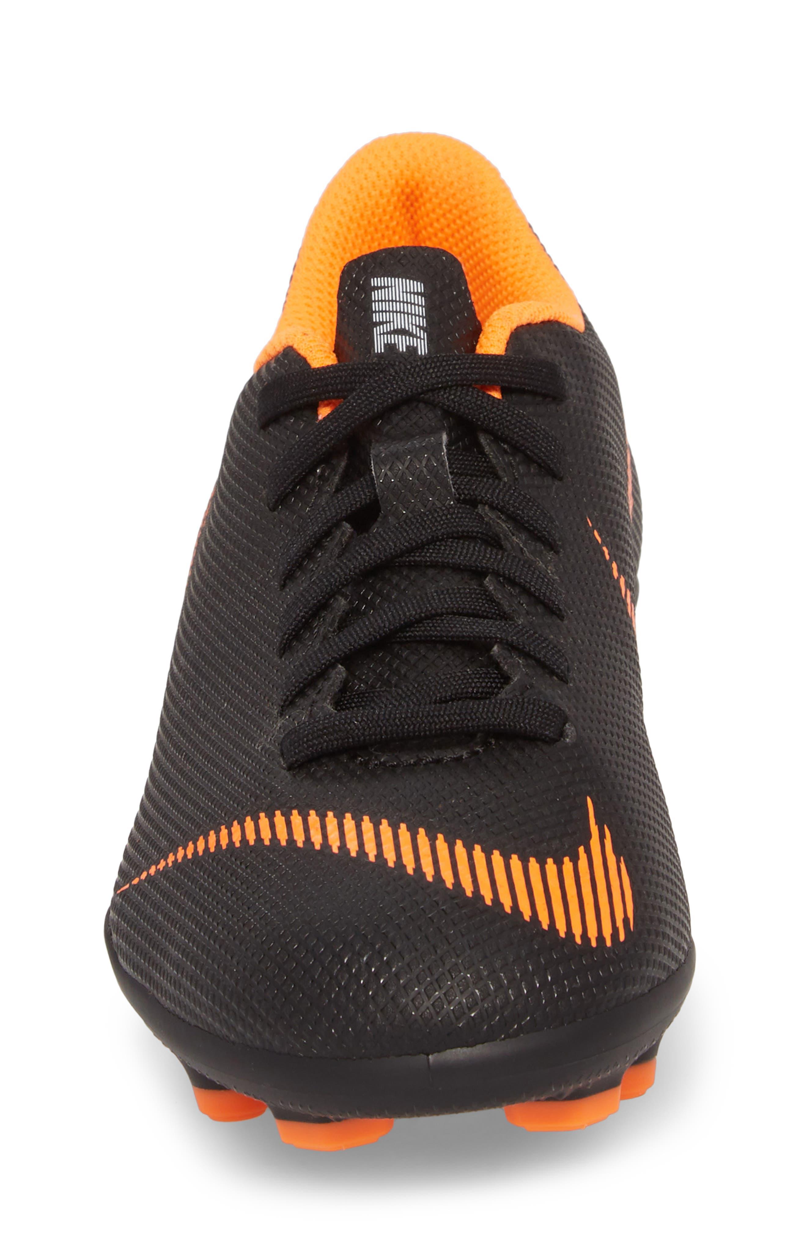 Vapor XII Club Multi Ground Soccer Shoe,                             Alternate thumbnail 4, color,                             Black/ Total Orange/ White