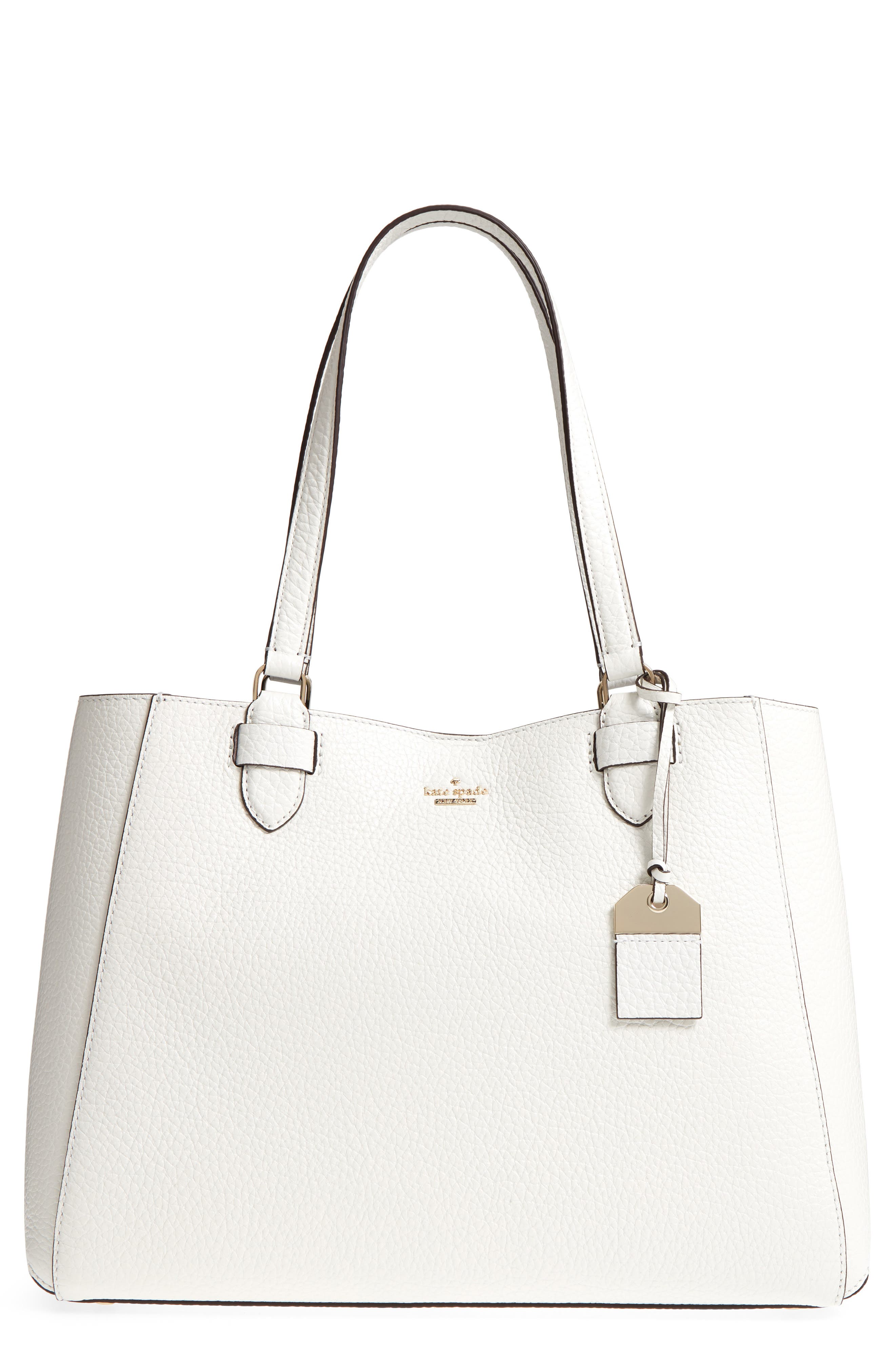 carter street - tyler leather tote,                         Main,                         color, Bright White