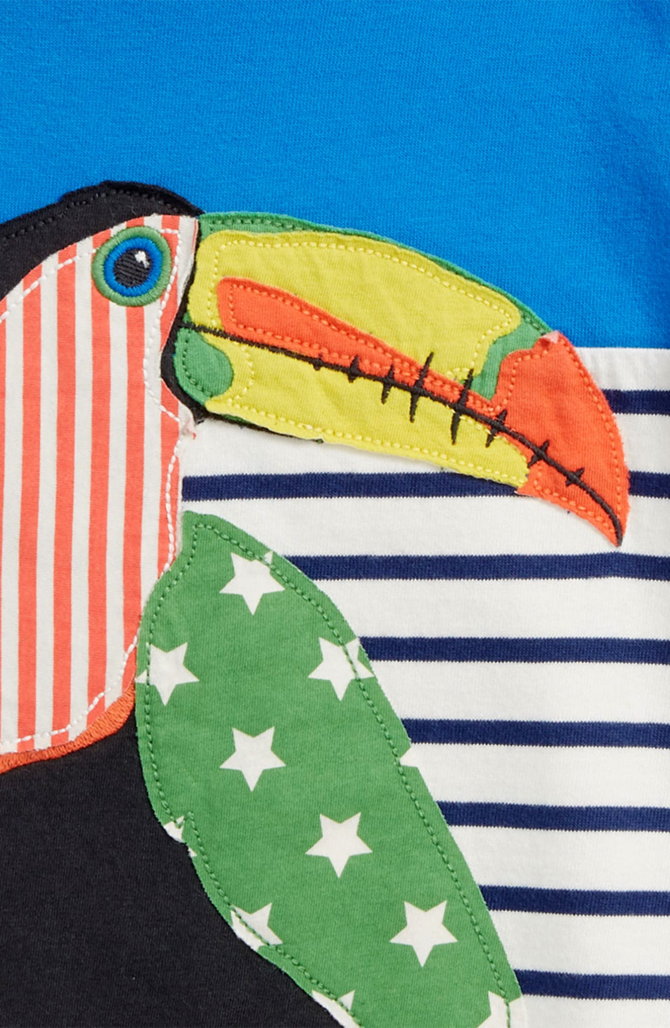 Toucan Stripe Appliqué T-Shirt,                             Alternate thumbnail 2, color,                             Yogo Blue Toucan