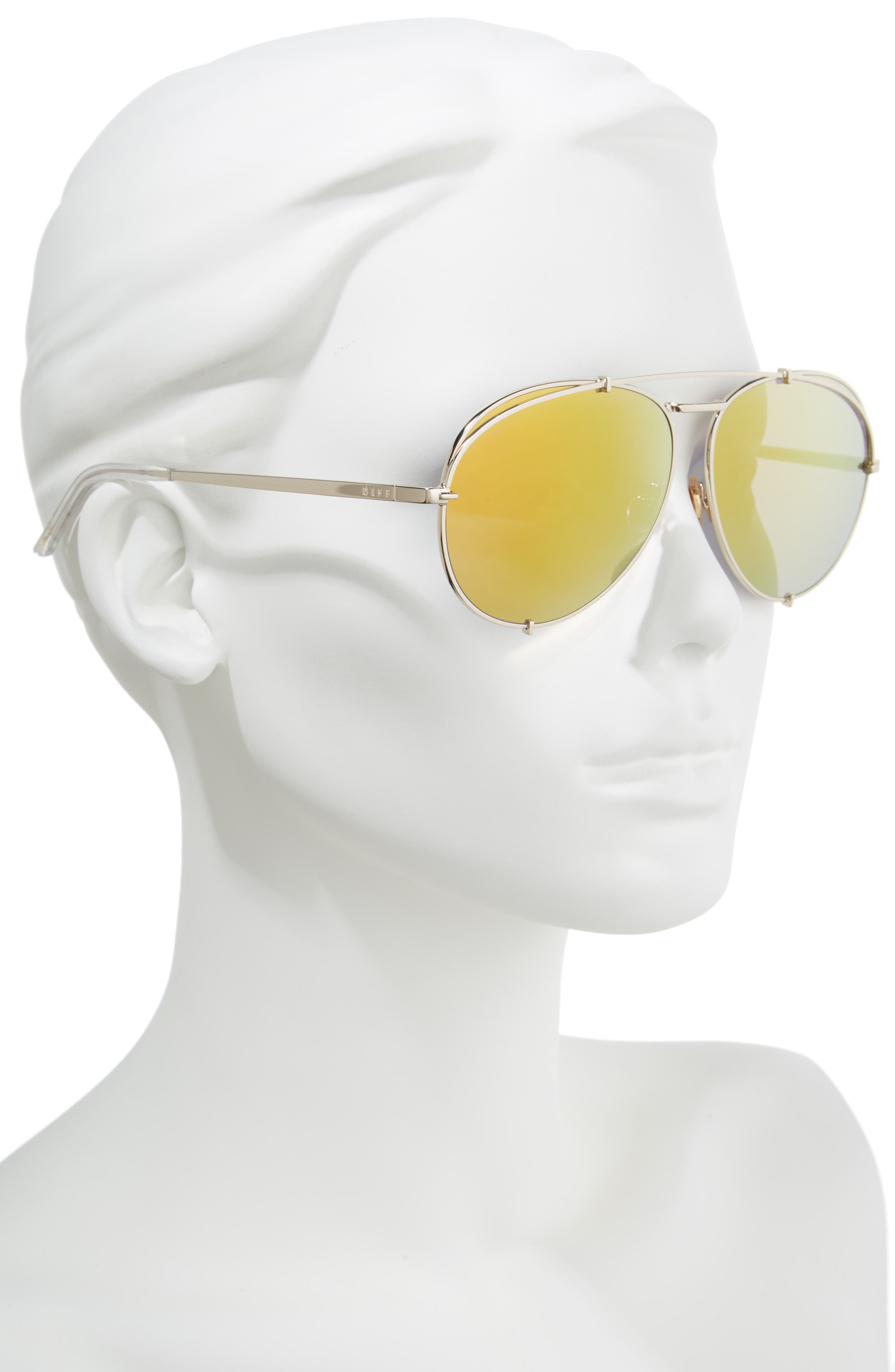 x Khloé Koko 63mm Oversize Aviator Sunglasses,                             Alternate thumbnail 2, color,                             Gold/ Red