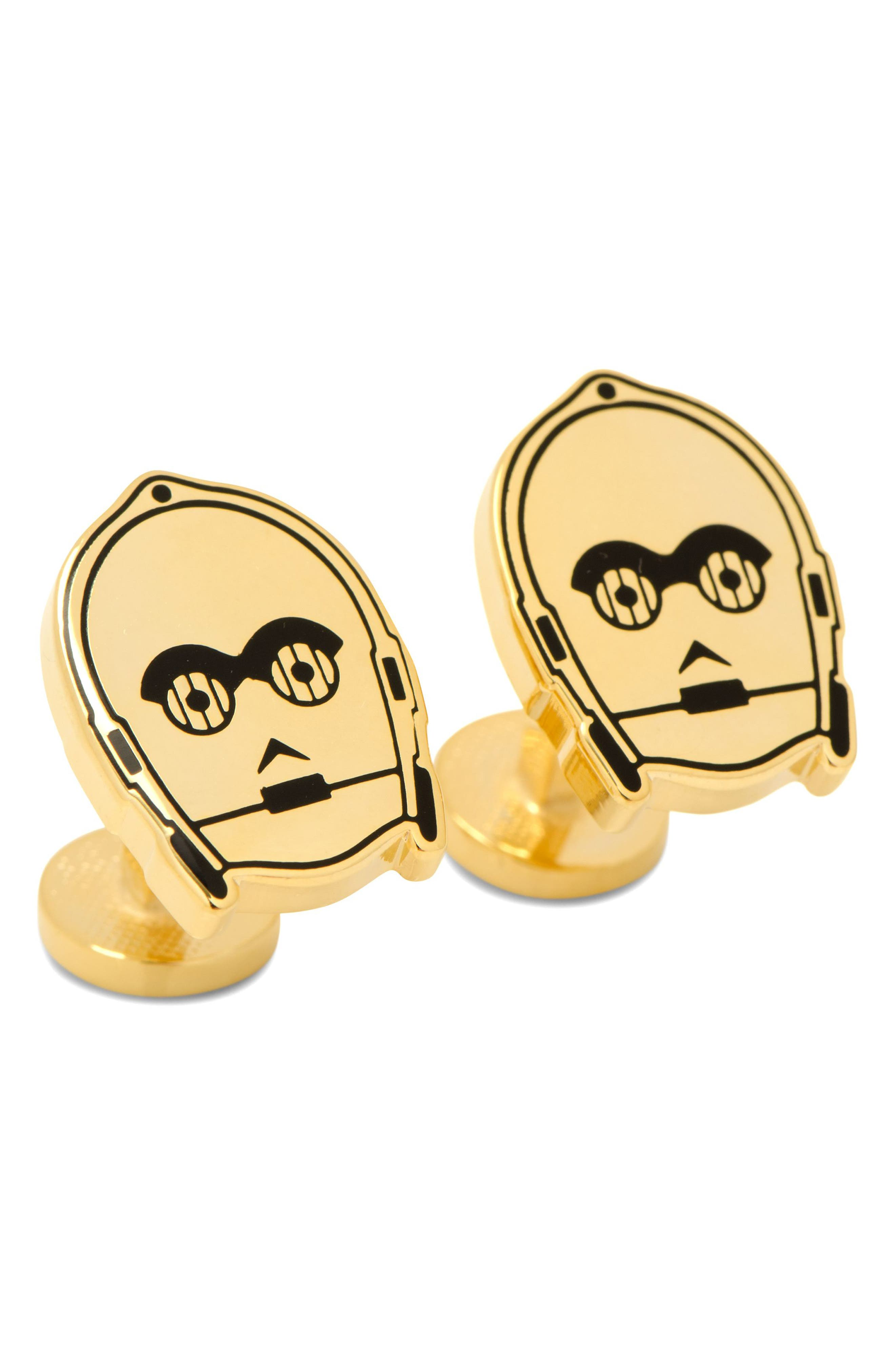 C-3PO Cuff Links,                             Main thumbnail 1, color,                             Gold
