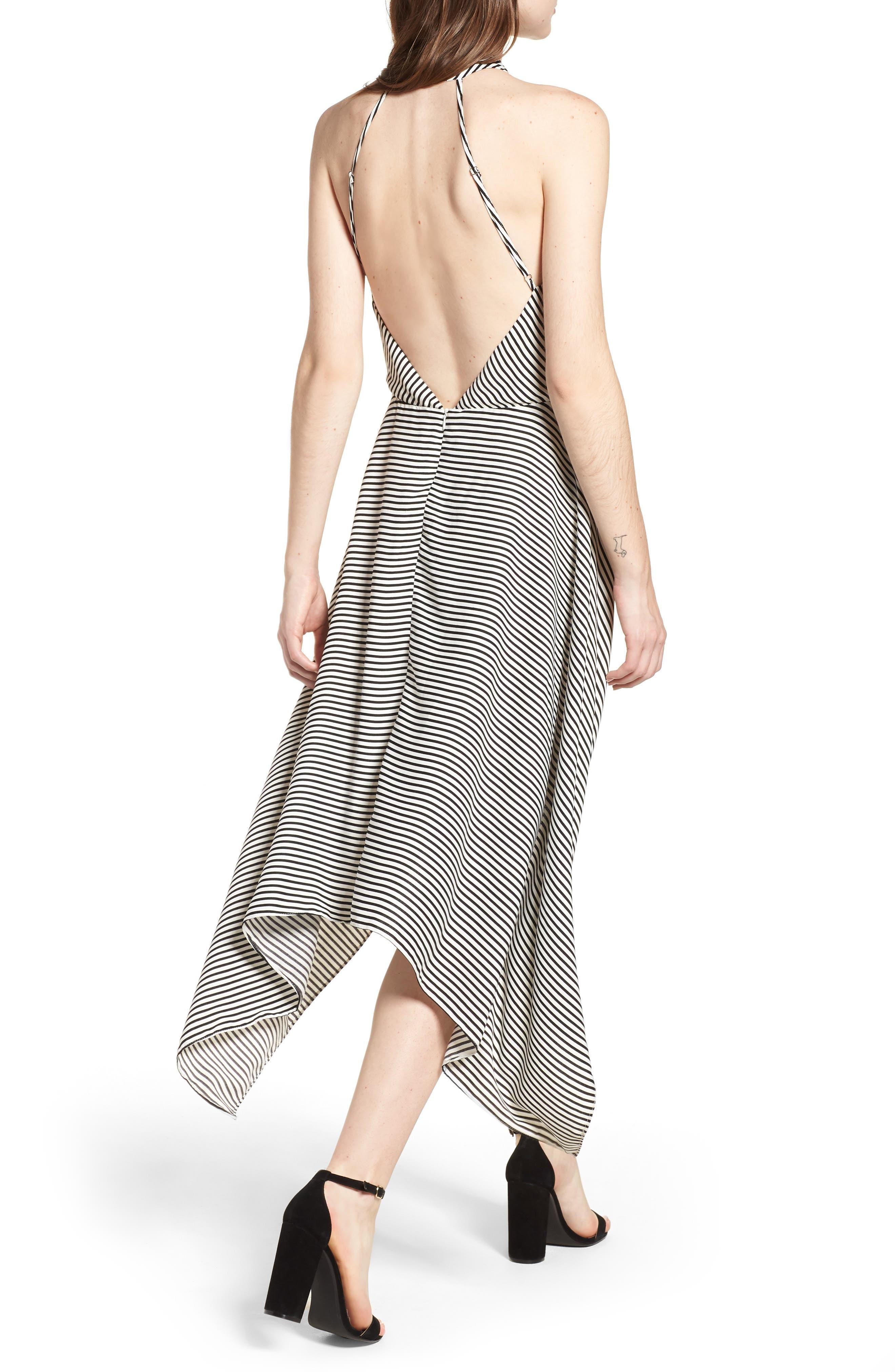 Bishop + Young Ana Stripe Shark Bite Hem Halter Dress,                             Alternate thumbnail 2, color,                             Black Stripe
