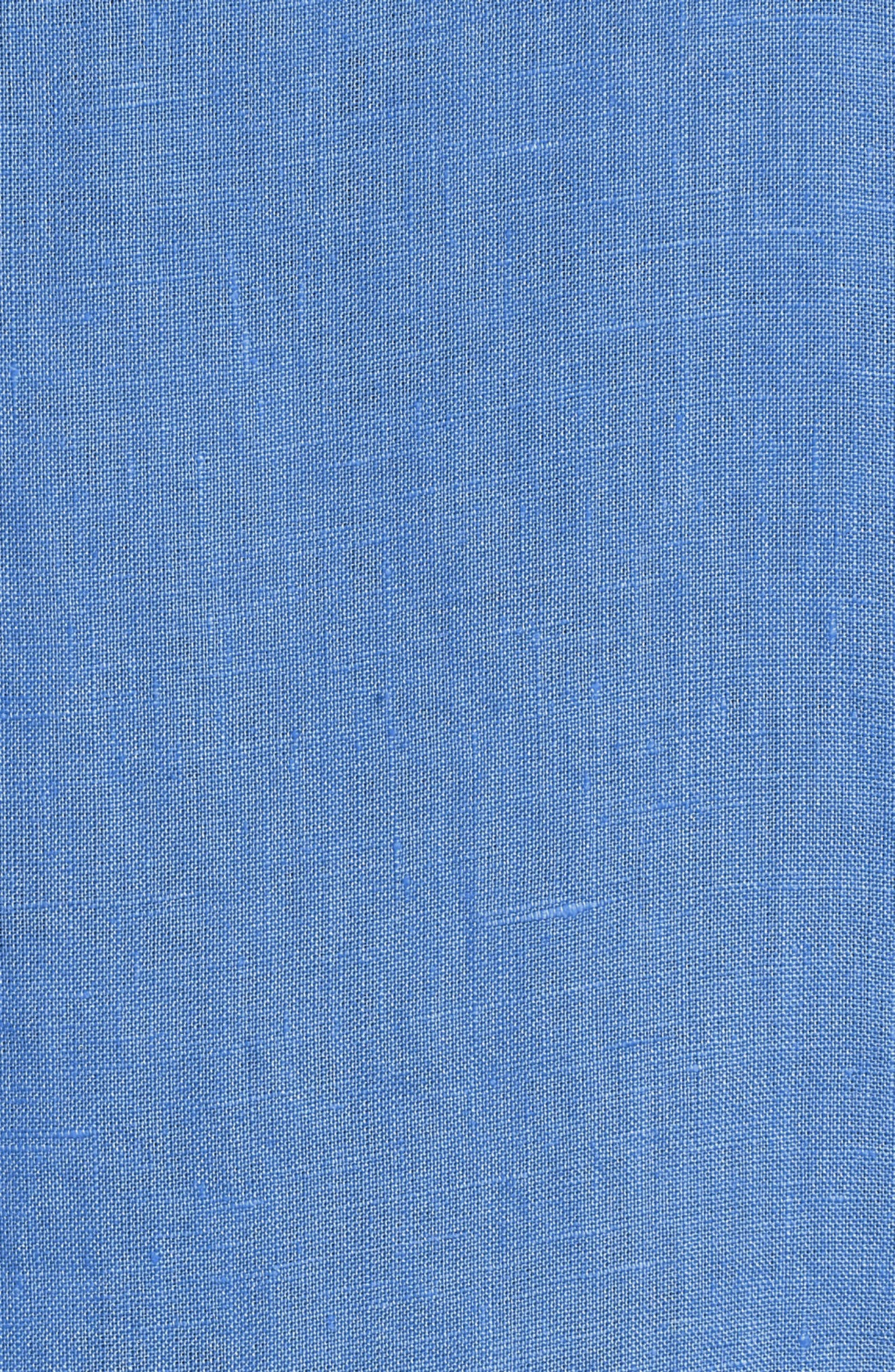 Woven Organic Linen Top,                             Alternate thumbnail 6, color,                             Bluebell