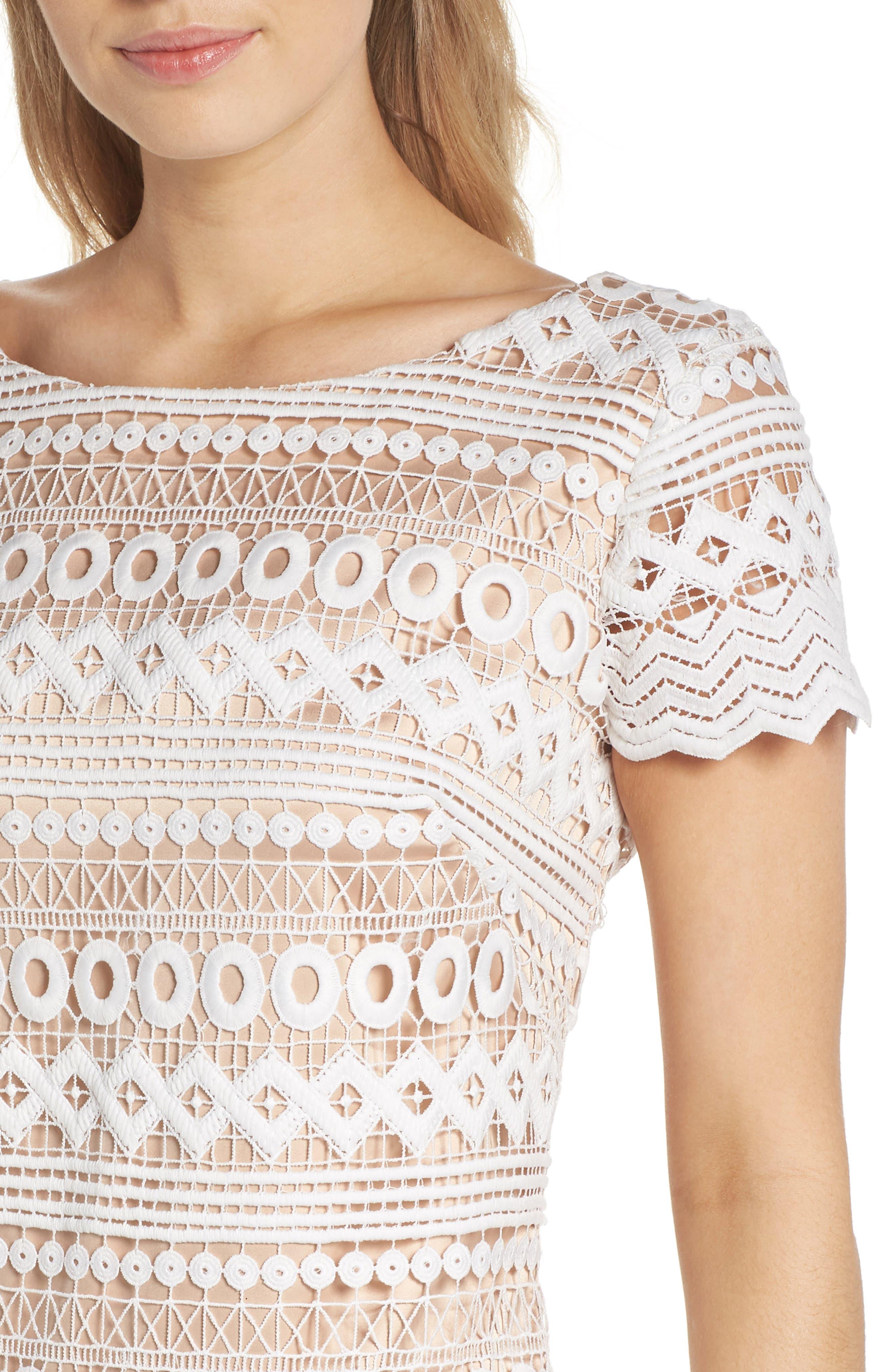 Geo Lace Sheath Dress,                             Alternate thumbnail 4, color,                             Ivory