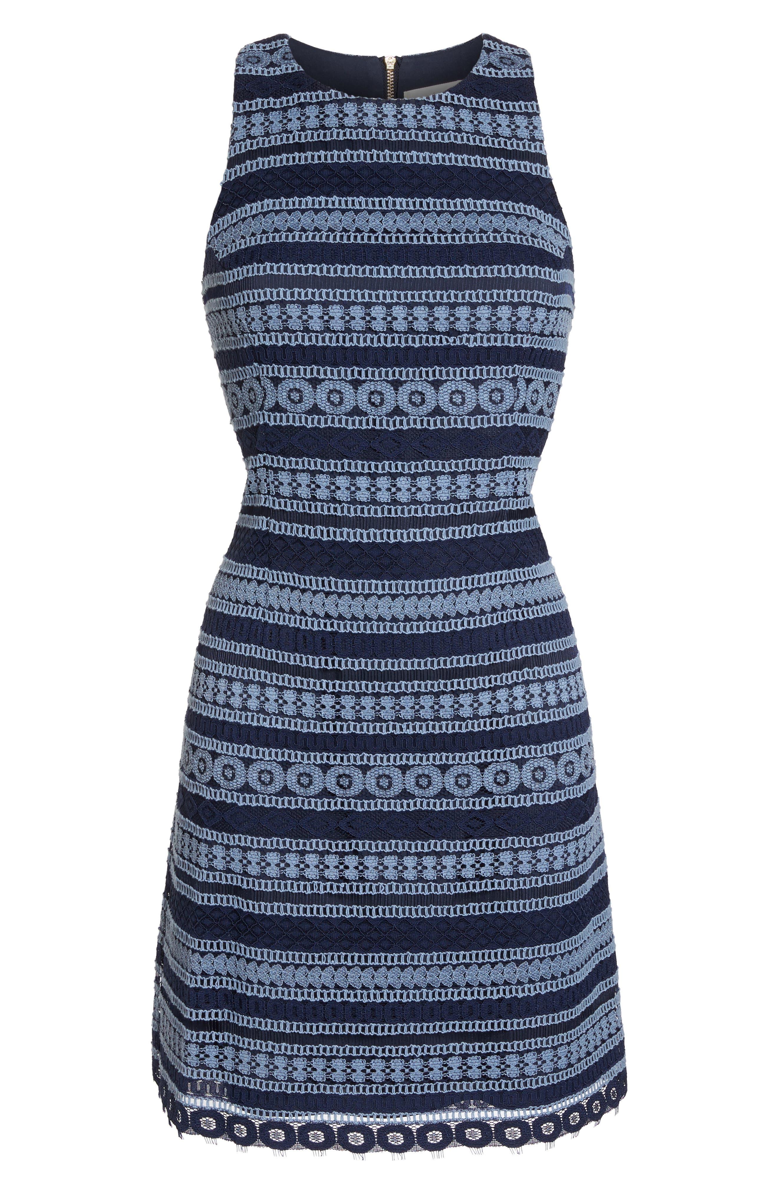 Stripe Racerback Lace Dress,                             Alternate thumbnail 7, color,                             Navy/ Blue