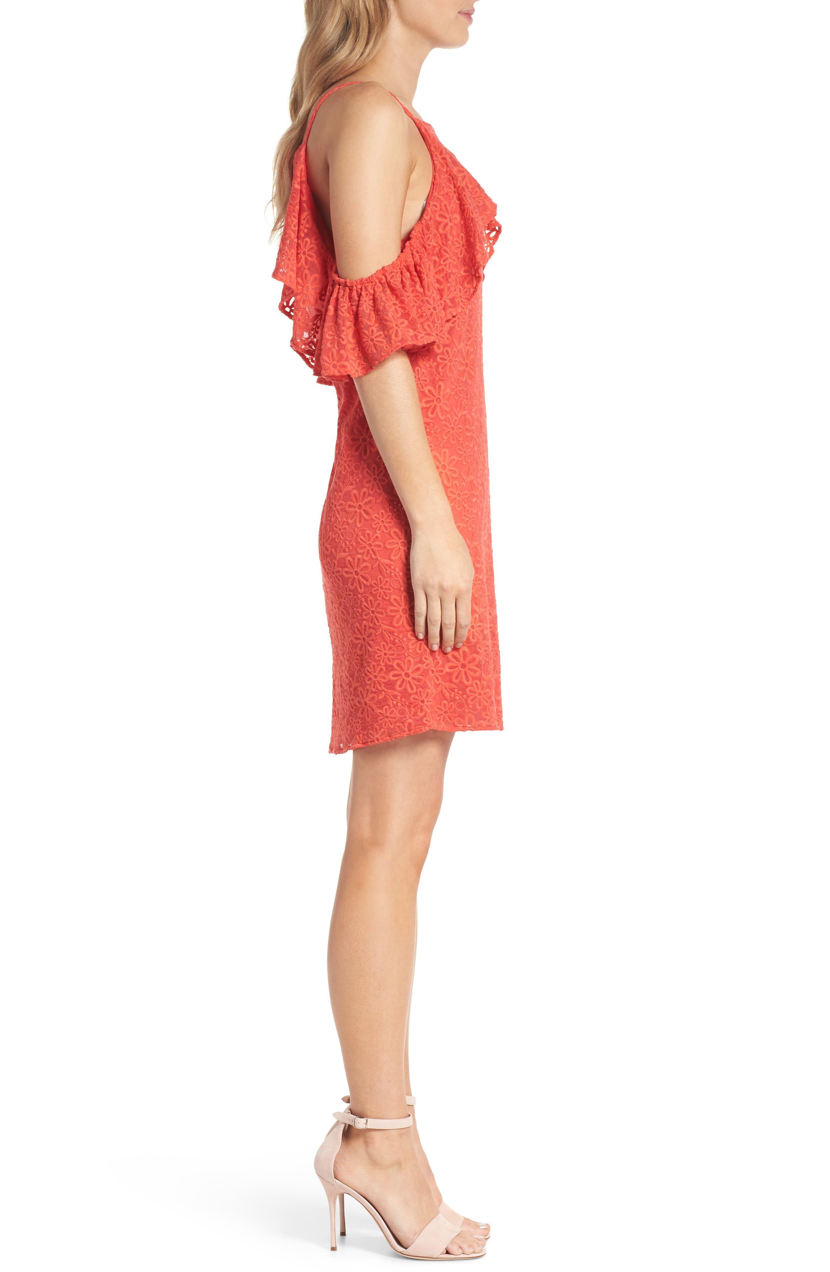 Roseville Cold Shoulder Embroidered Tulle Halter Dress,                             Alternate thumbnail 3, color,                             Lady Bug