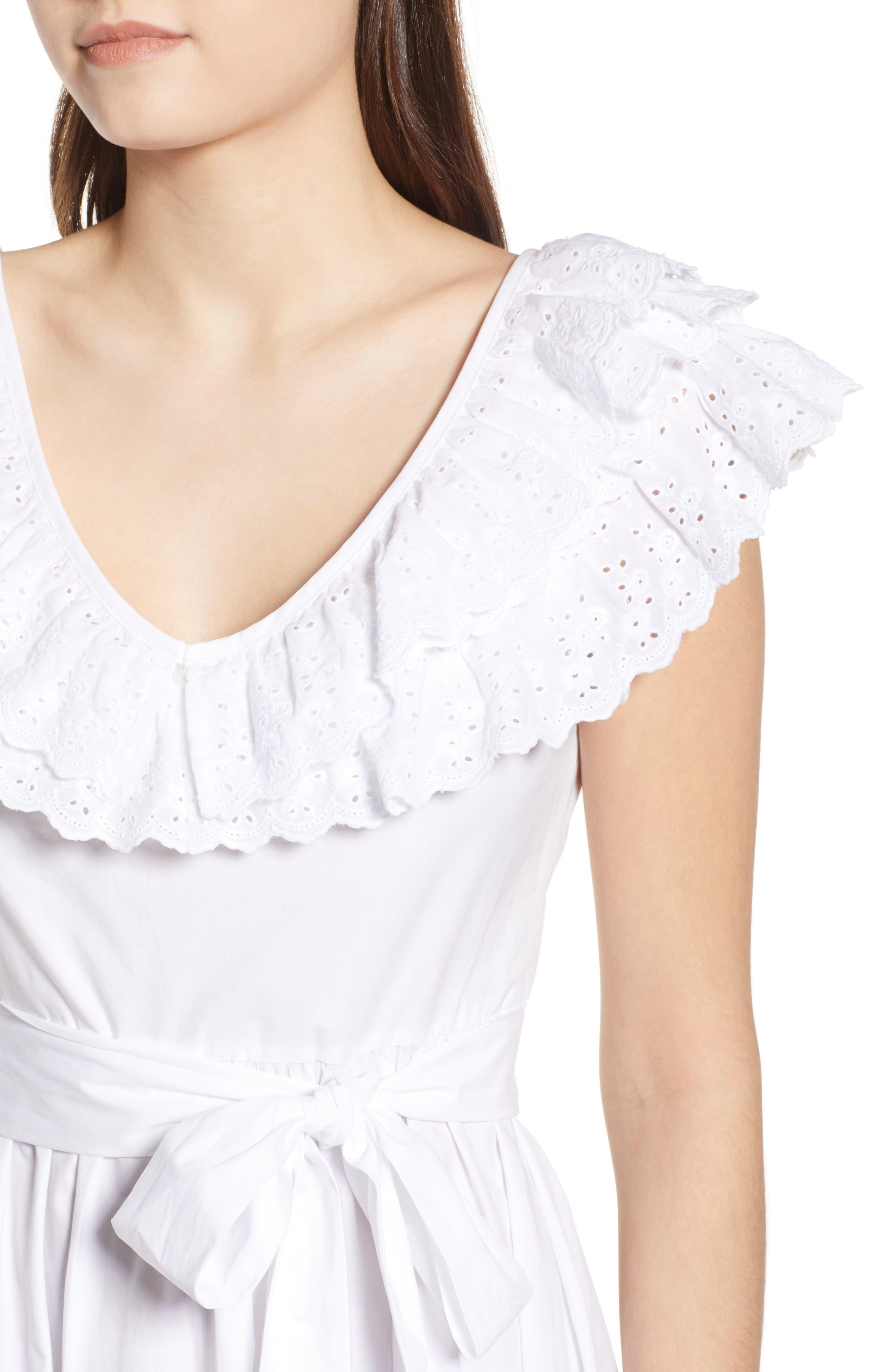 Ruffle Eyelet Dress,                             Alternate thumbnail 4, color,                             White