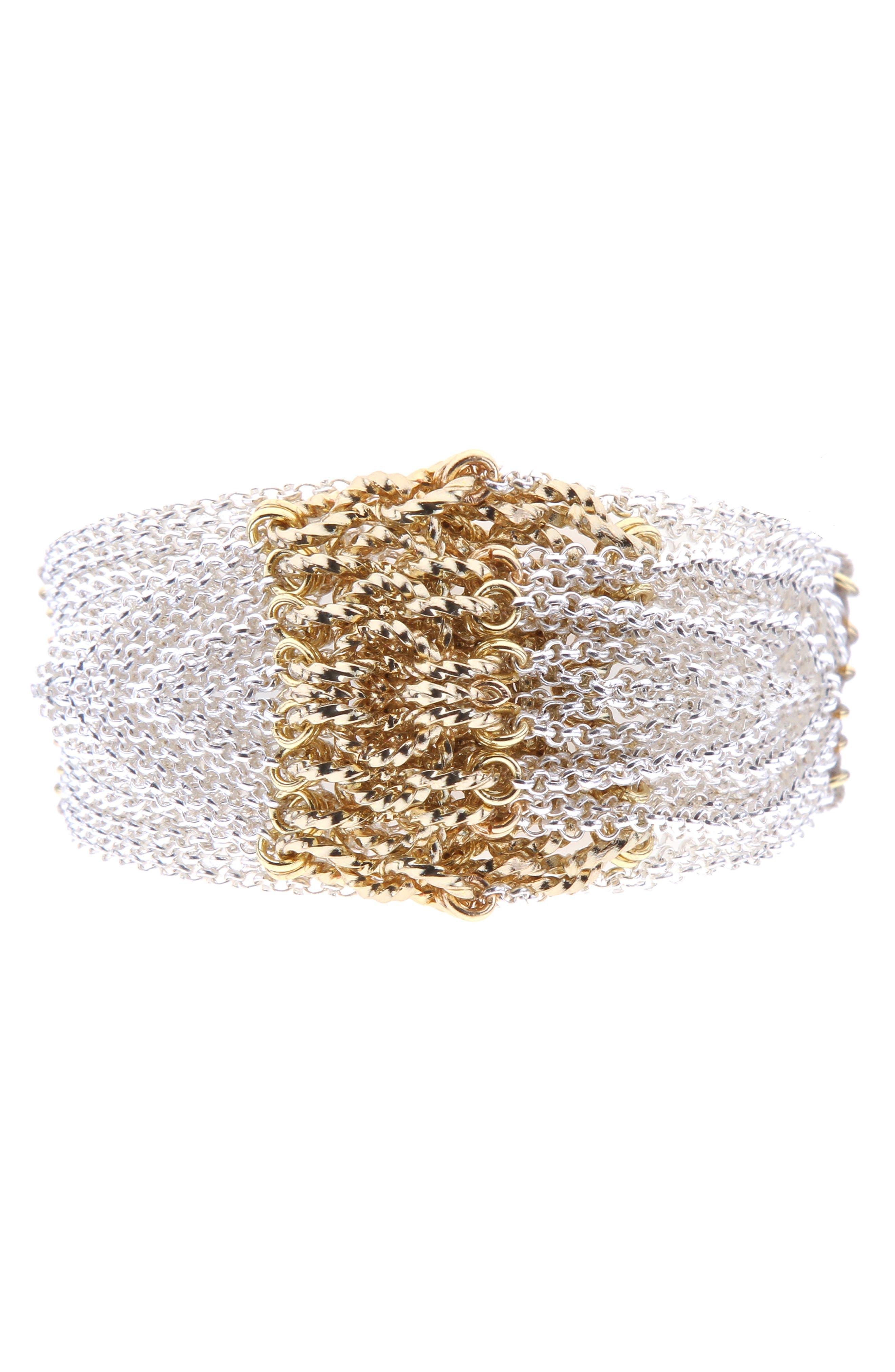 Chain Bracelet,                         Main,                         color, Silver/ Gold