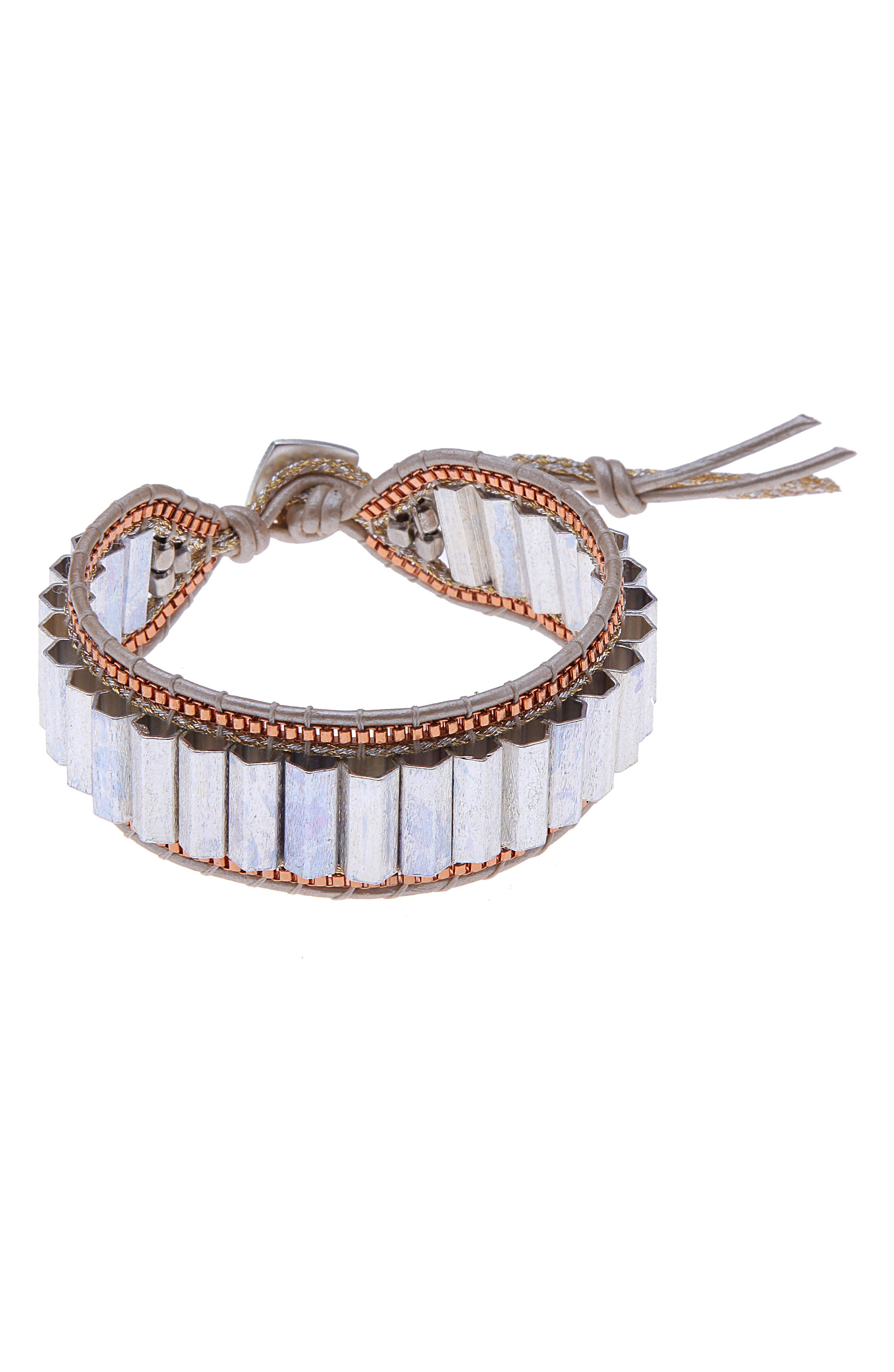 Leather & Metal Bead Bracelet,                         Main,                         color, Silver