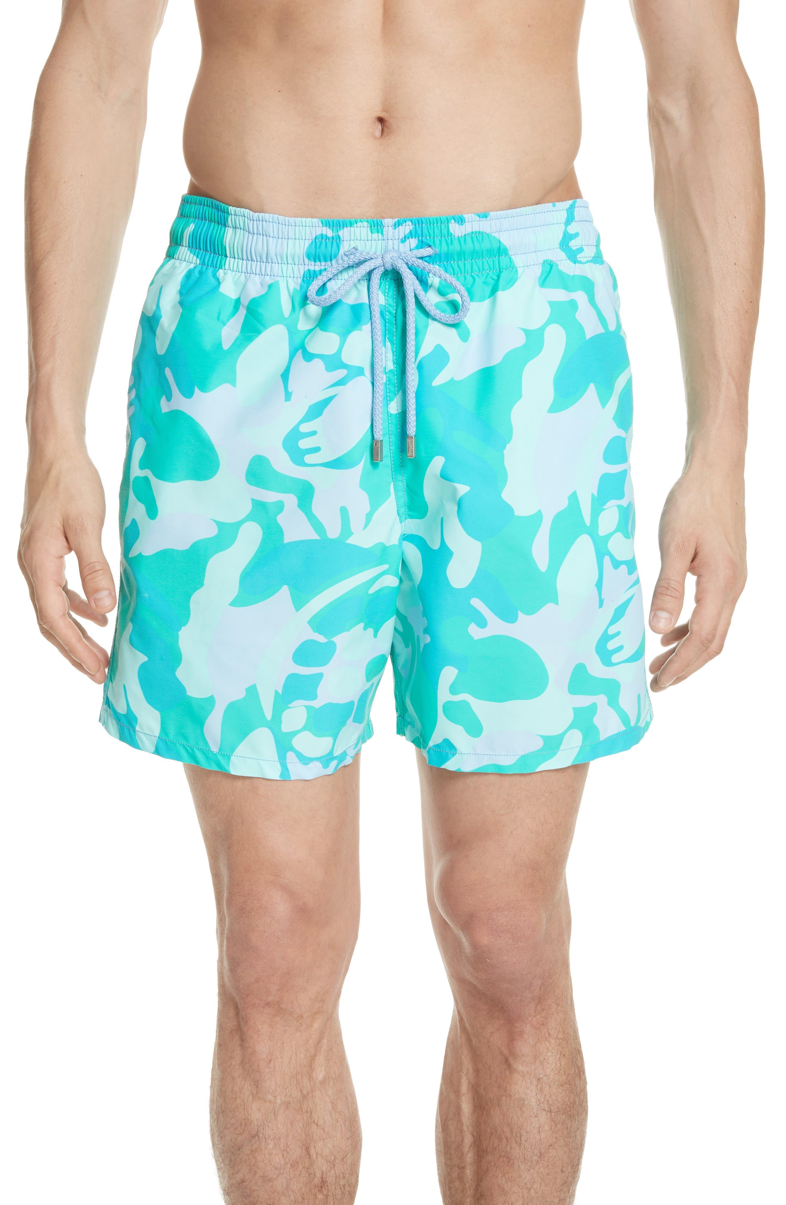Camo Turtle Print Swim Trunks,                         Main,                         color, Sky Blue