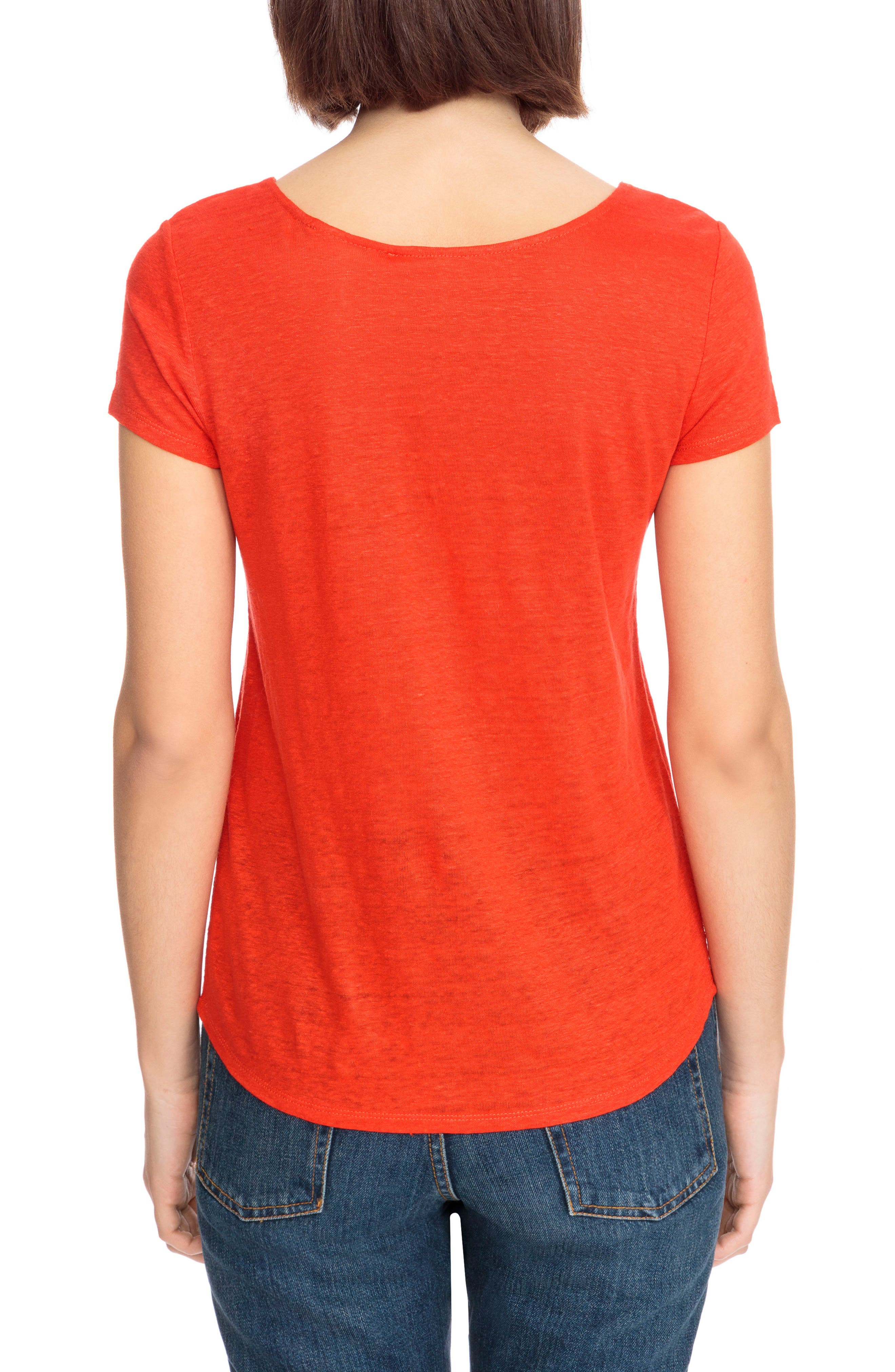 Loly Crochet Neck Linen Tee,                             Alternate thumbnail 3, color,                             Coral Red
