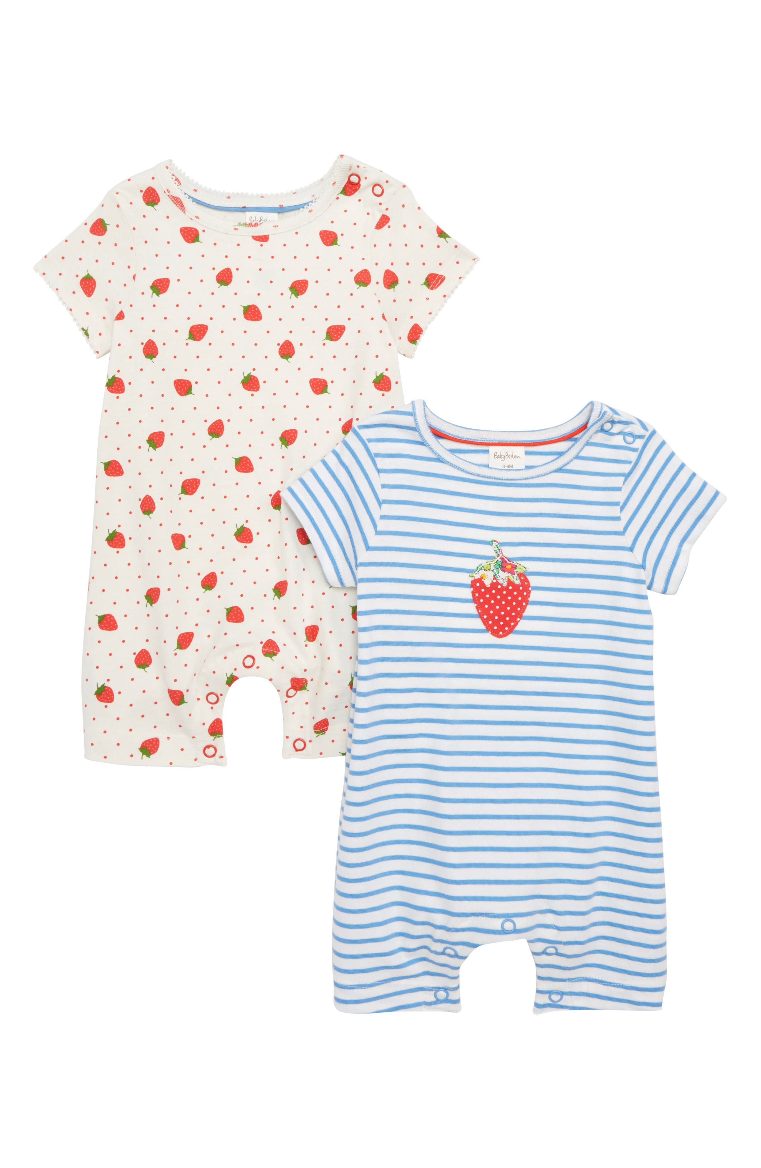 Summer 2-Pack Rompers,                             Main thumbnail 1, color,                             Rosehip/ Red Strawberry