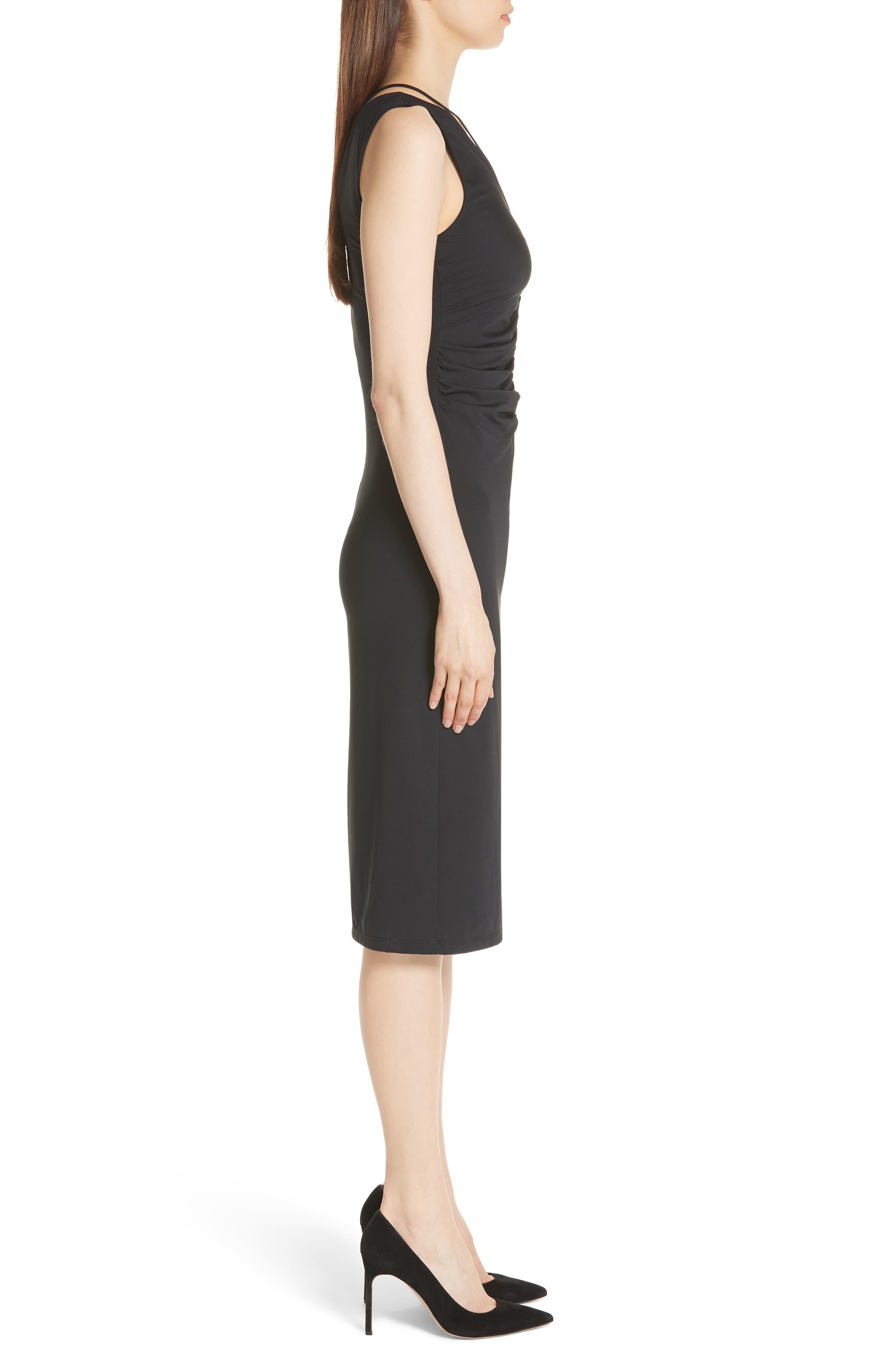 Ruched Tie Travel Midi Dress,                             Alternate thumbnail 3, color,                             Black