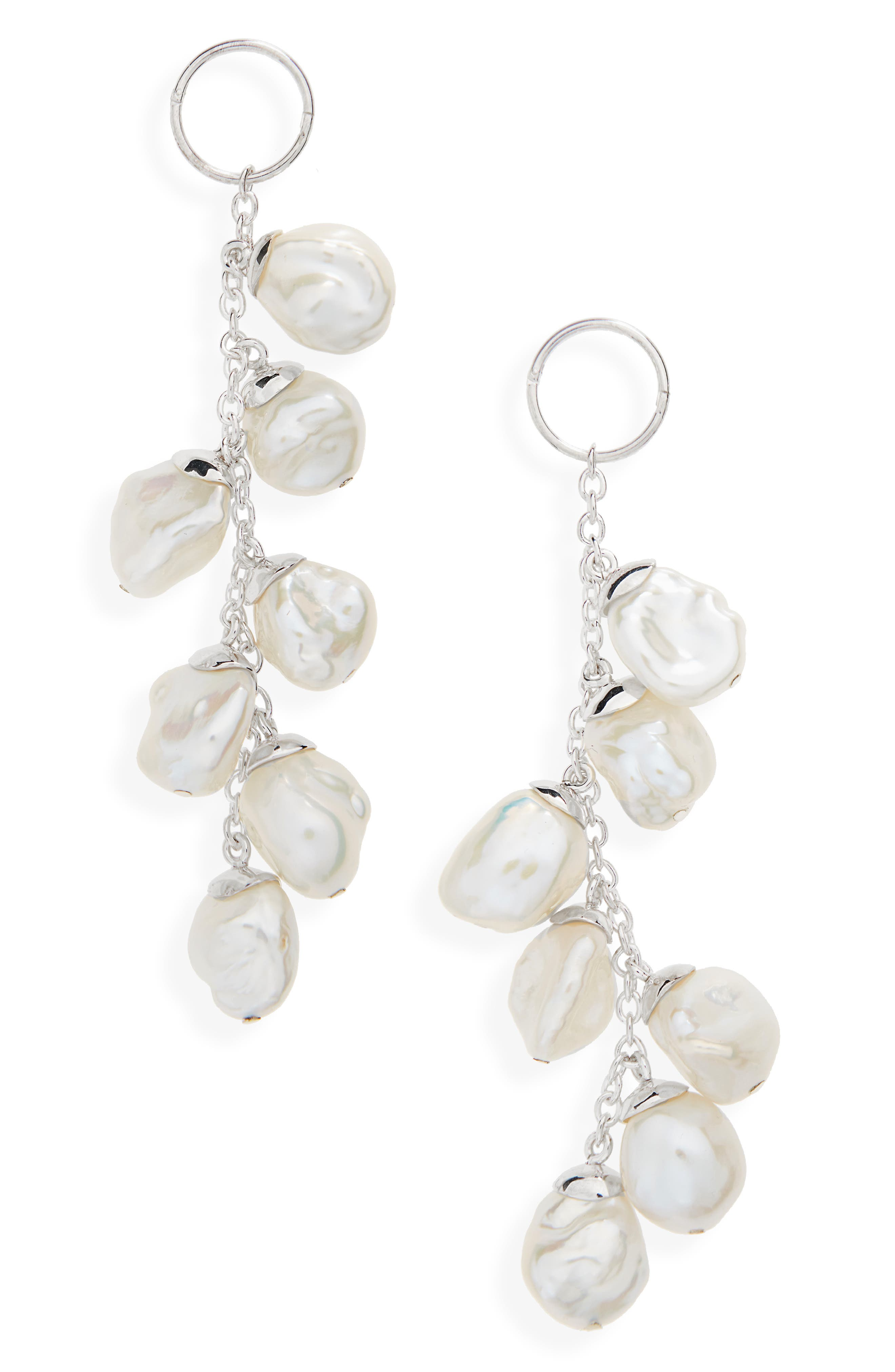 Baroque Cultured Freshwater Pearl Drop Earrings,                             Main thumbnail 1, color,                             Silver