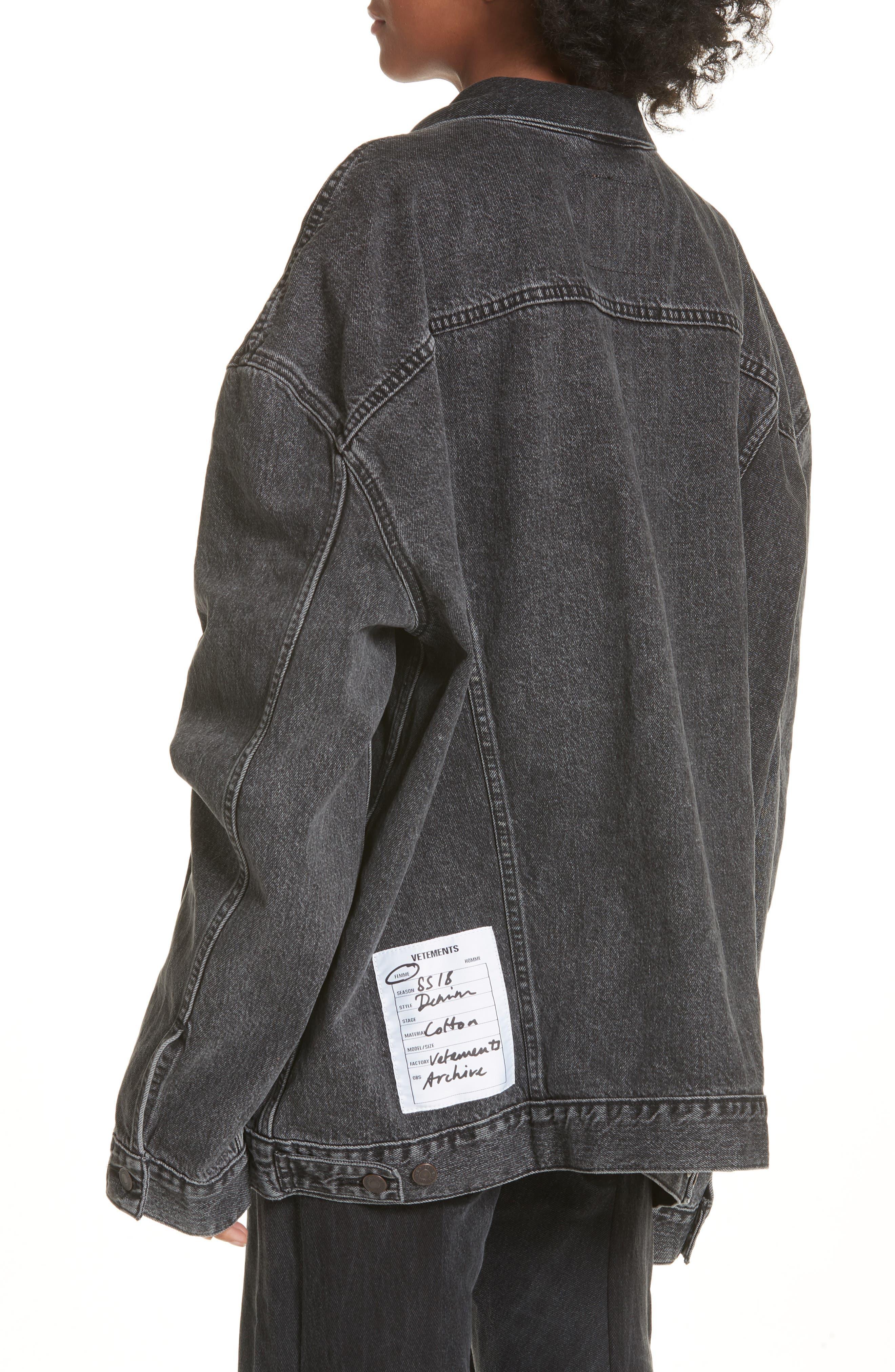Oversized Removable Hood Denim Jacket,                             Alternate thumbnail 4, color,                             Black