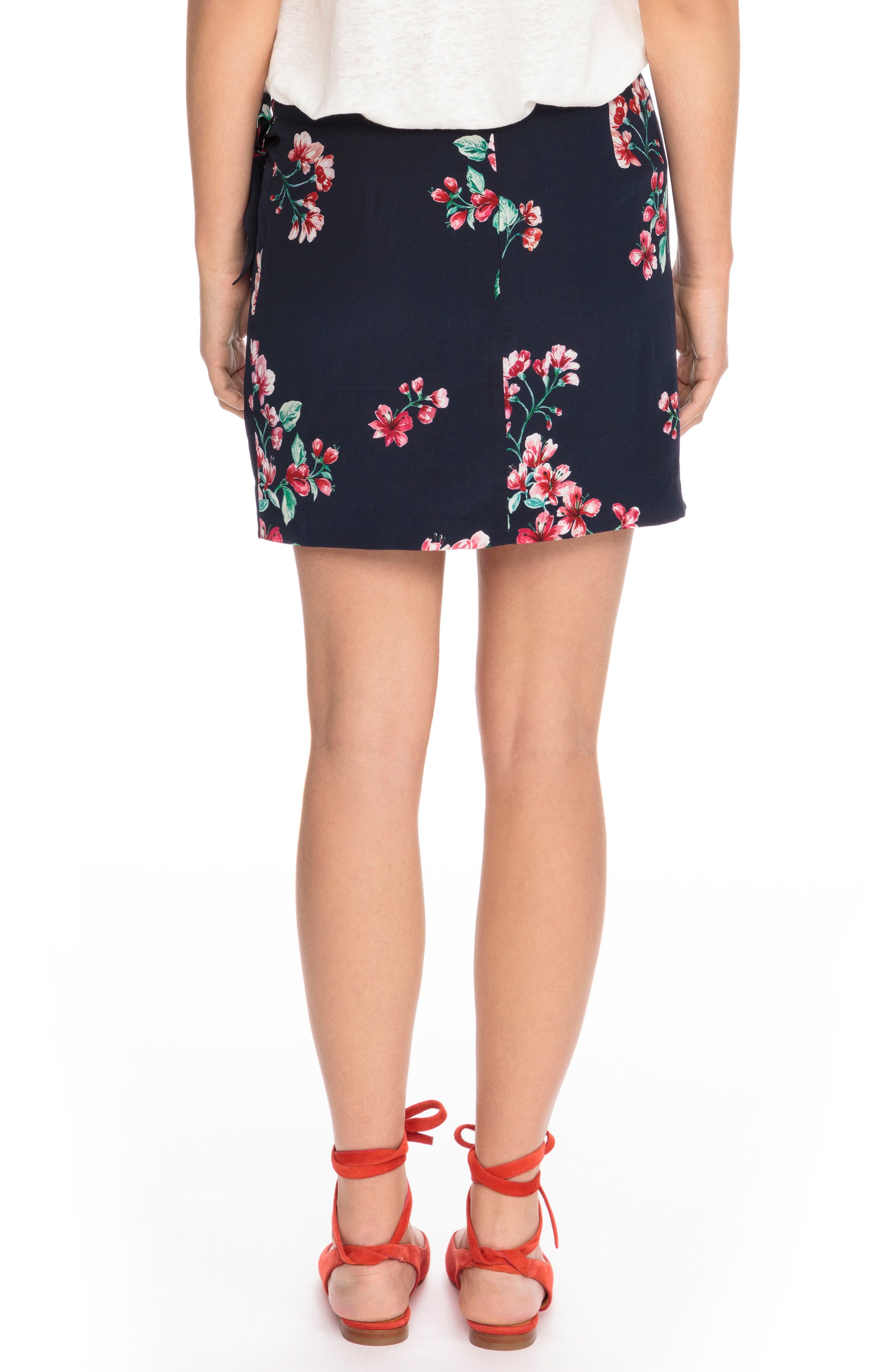Pacome Floral Silk Skirt,                             Alternate thumbnail 3, color,                             Bouquet Print On Navy Blue