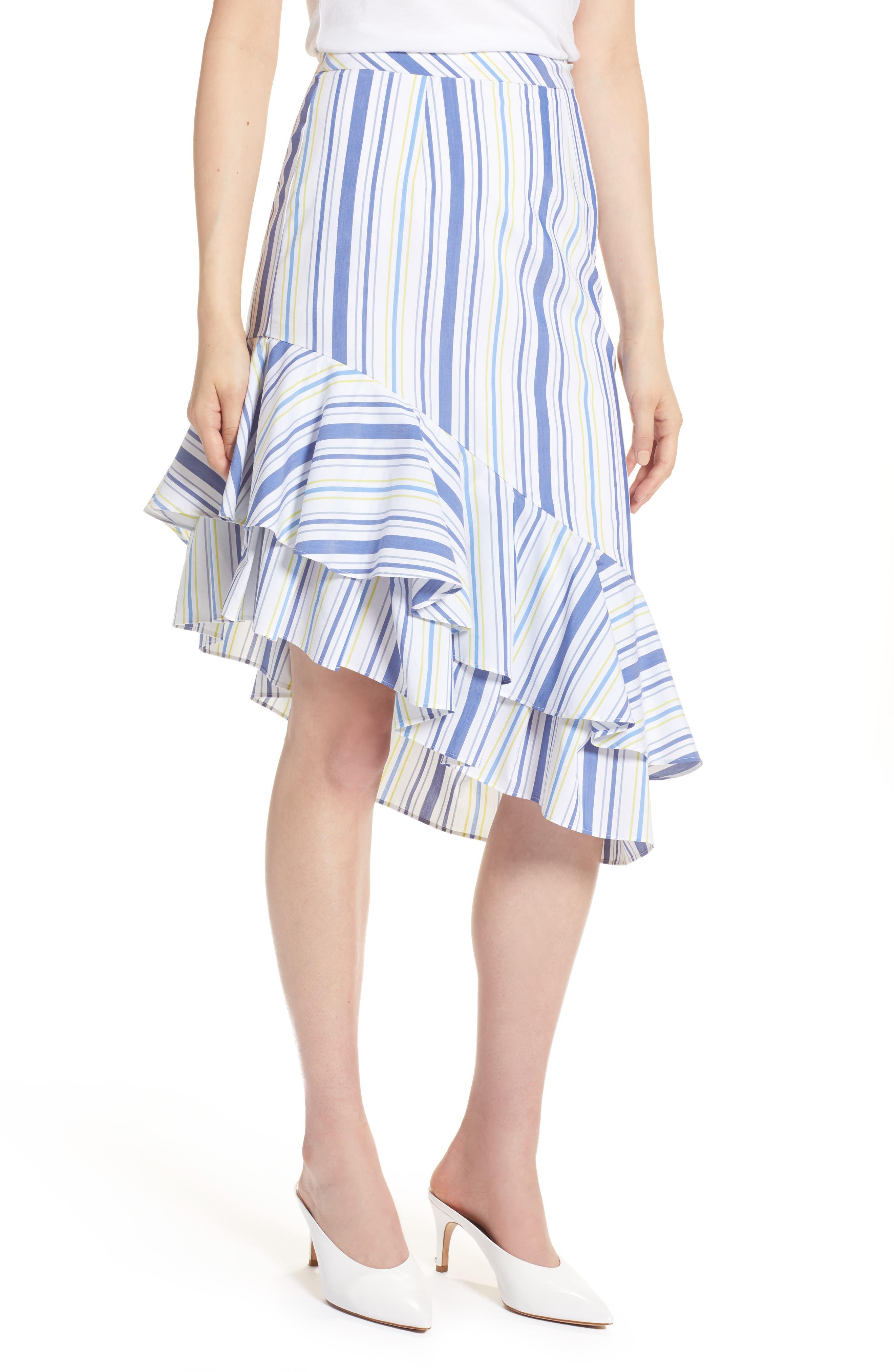 Ruffle Hem Stripe Skirt,                         Main,                         color, White Multi Stripe