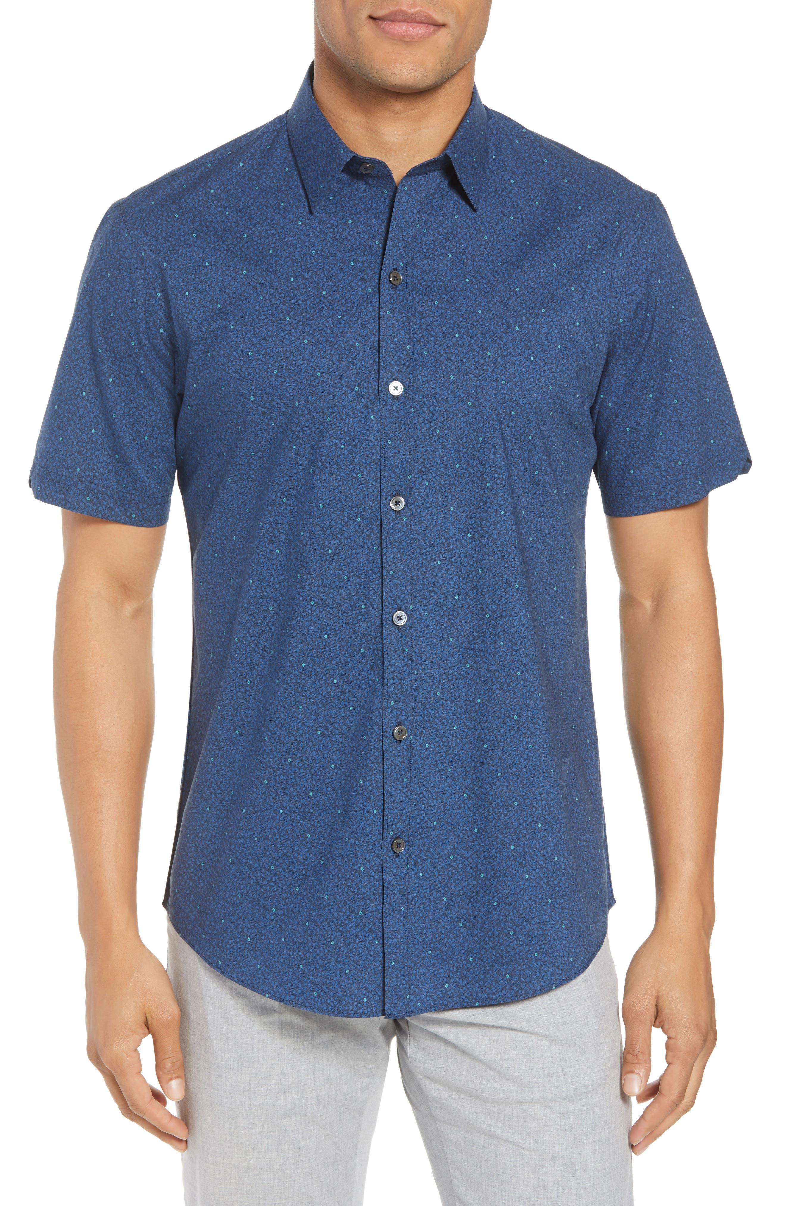 Wichert Trim Fit Floral Print Sport Shirt,                         Main,                         color, Dark Blue