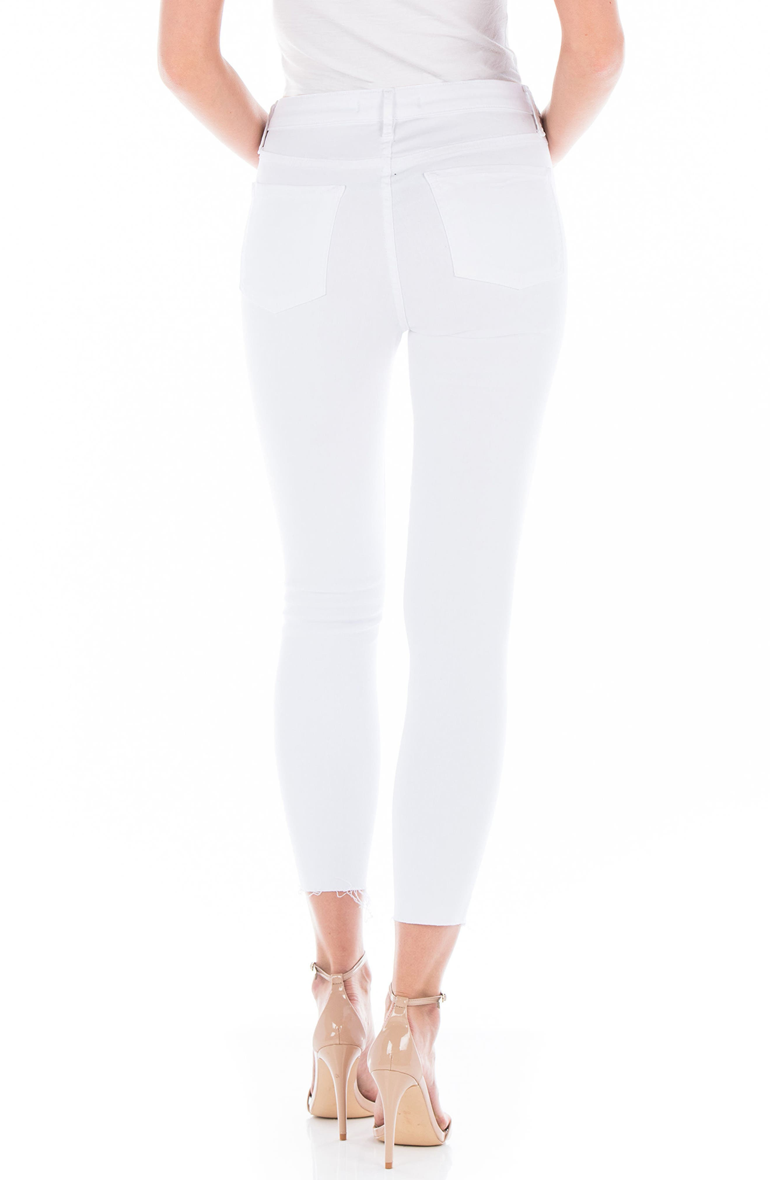 Gwen Raw Hem Crop Skinny Jeans,                             Alternate thumbnail 2, color,                             White