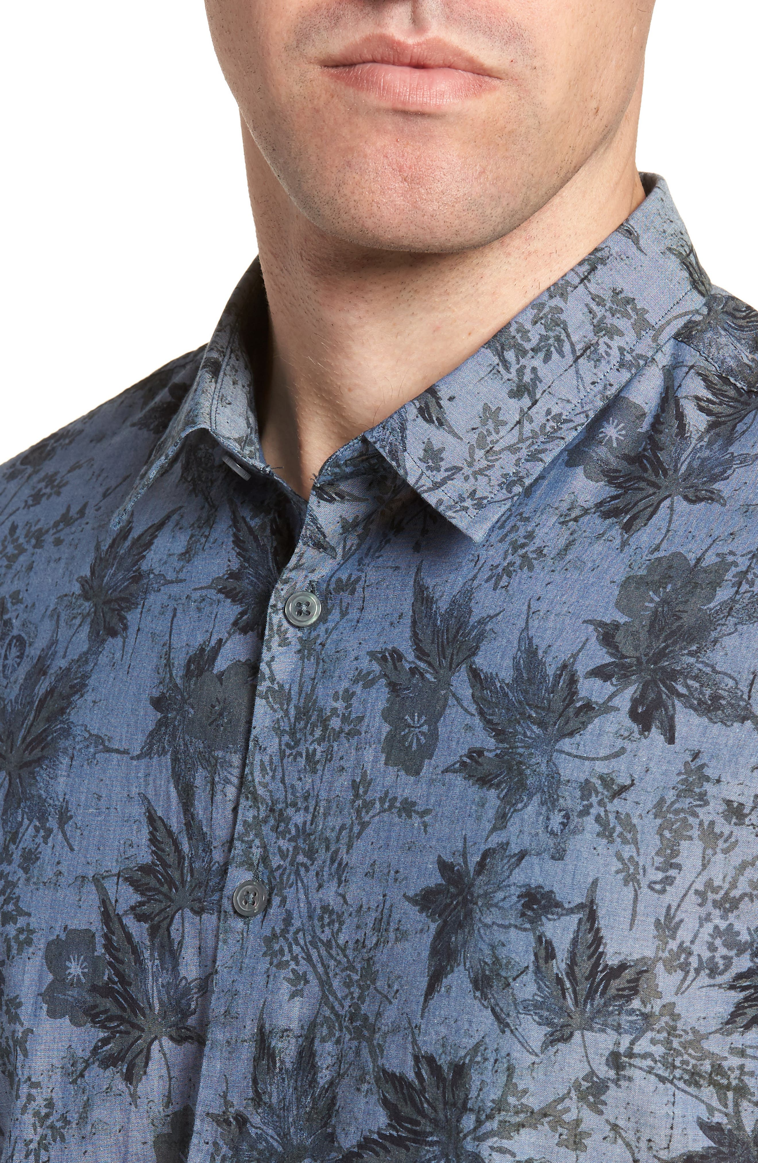 Regular Fit Print Short Sleeve Sport Shirt,                             Alternate thumbnail 4, color,                             Indigo