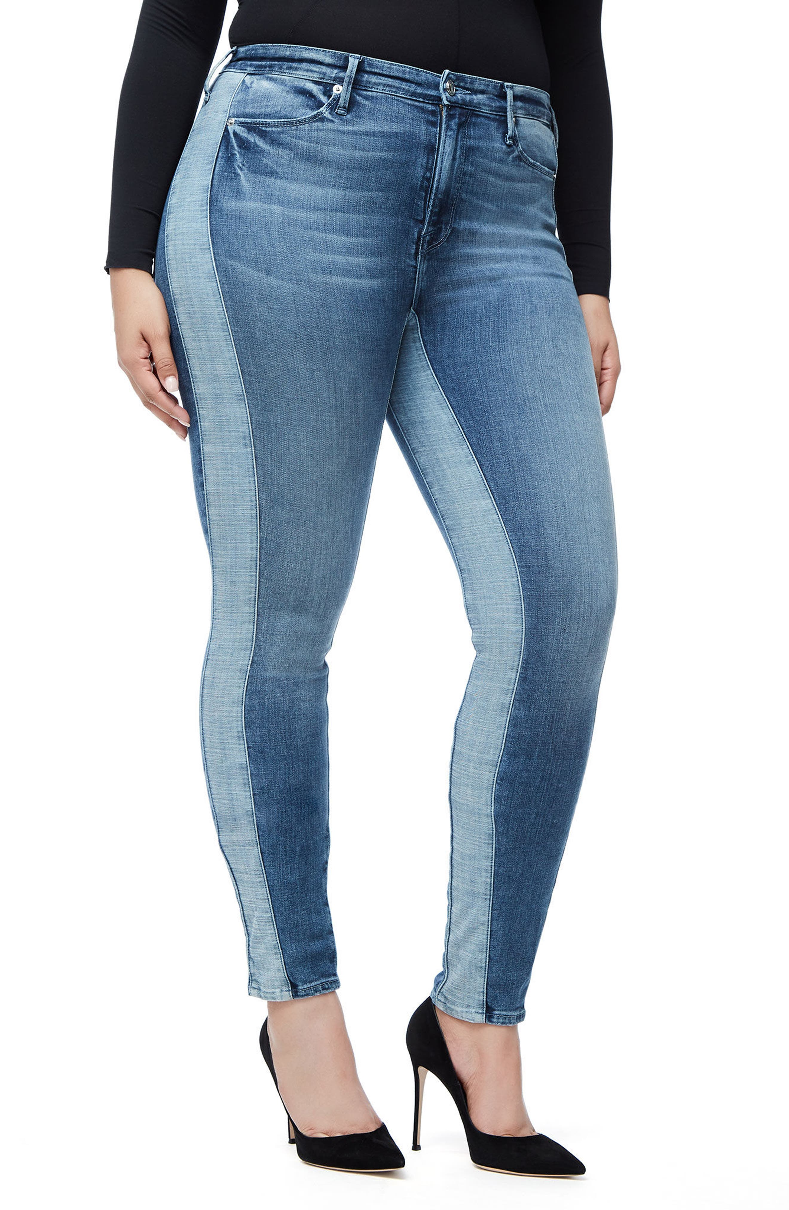 Good Waist Piecing High Waist Skinny Jeans,                             Alternate thumbnail 7, color,                             Blue128