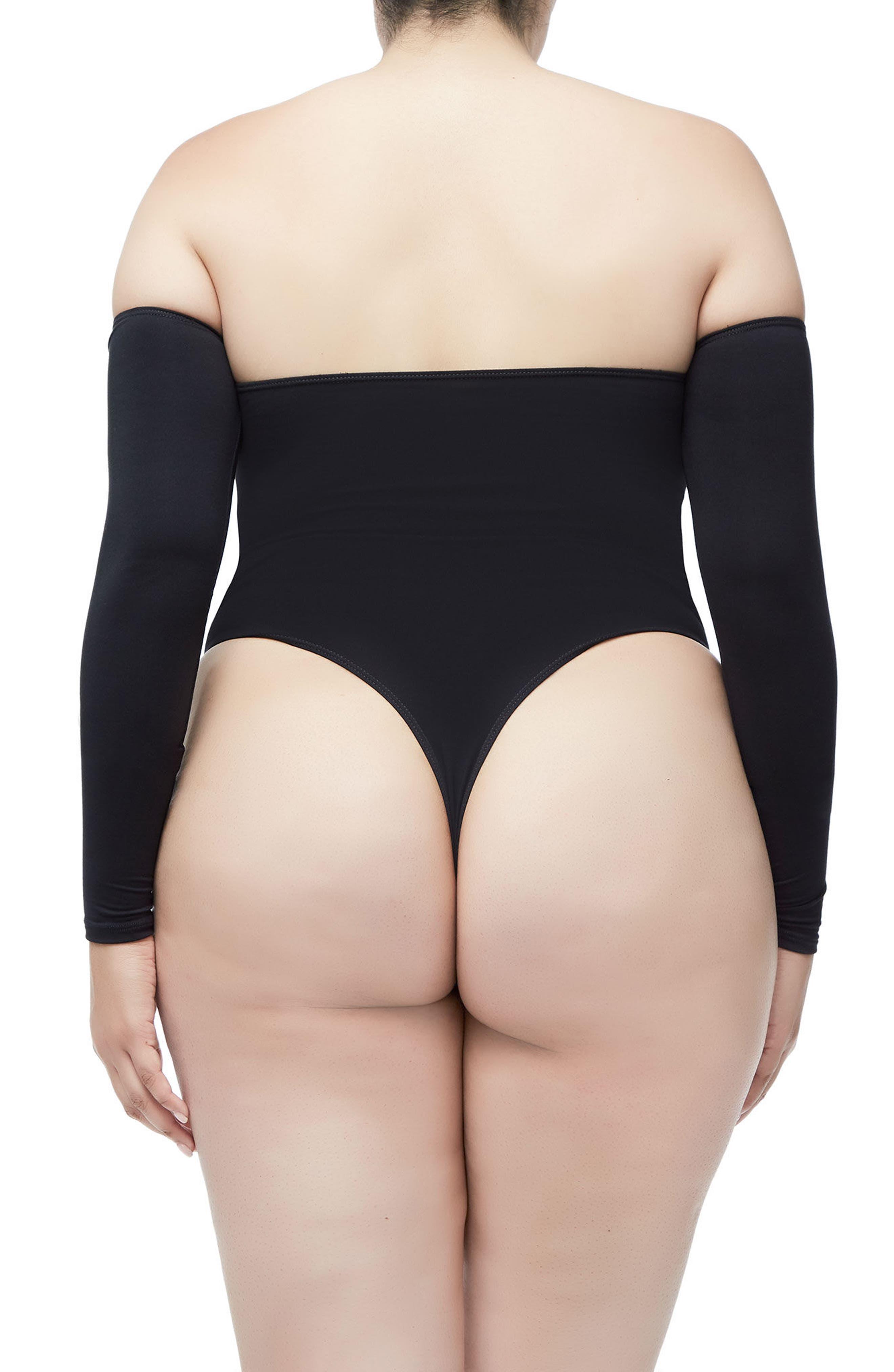 Good Body Sporty Off the Shoulder Thong Bodysuit,                             Alternate thumbnail 6, color,                             Black001