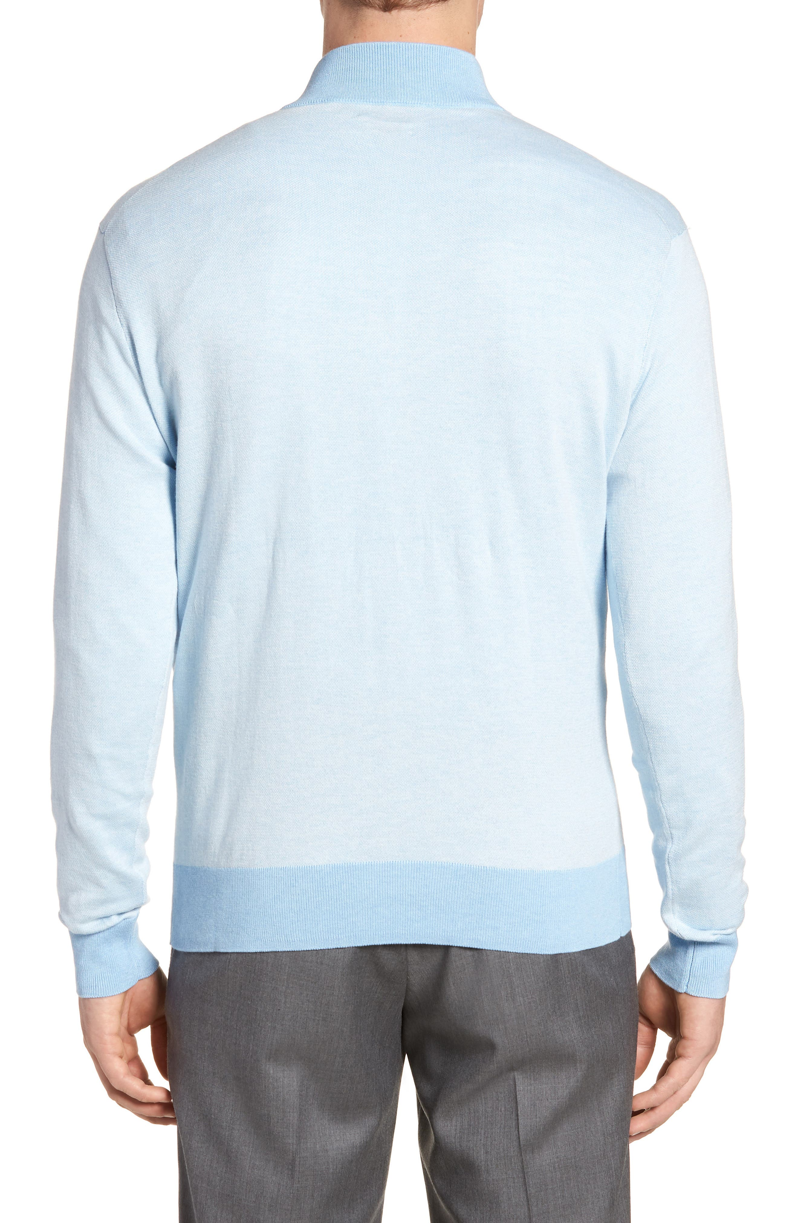 Crown Bird's Eye Cotton & Silk Quarter Zip Sweater,                             Alternate thumbnail 2, color,                             Tarheel Blue