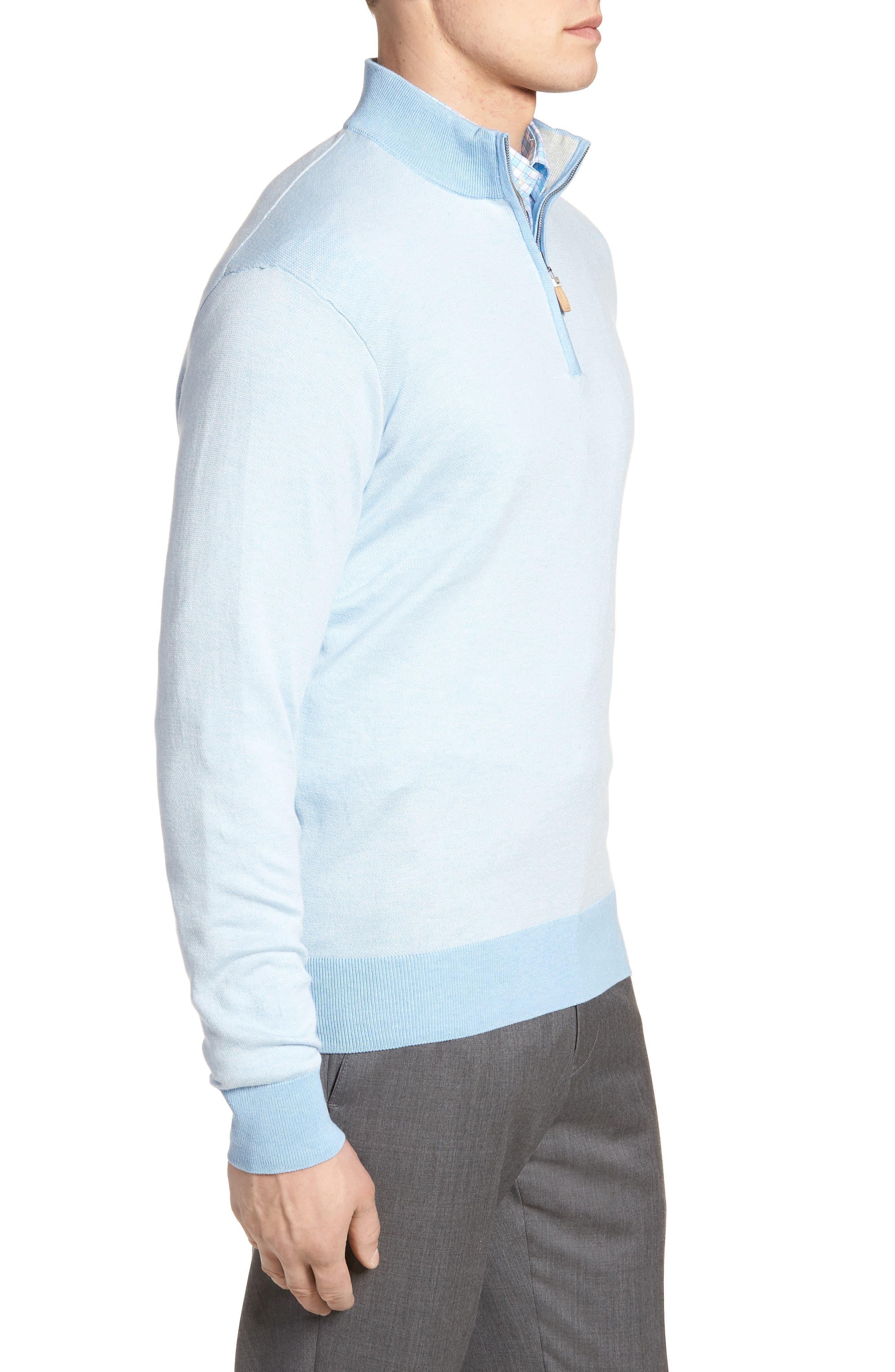 Crown Bird's Eye Cotton & Silk Quarter Zip Sweater,                             Alternate thumbnail 3, color,                             Tarheel Blue