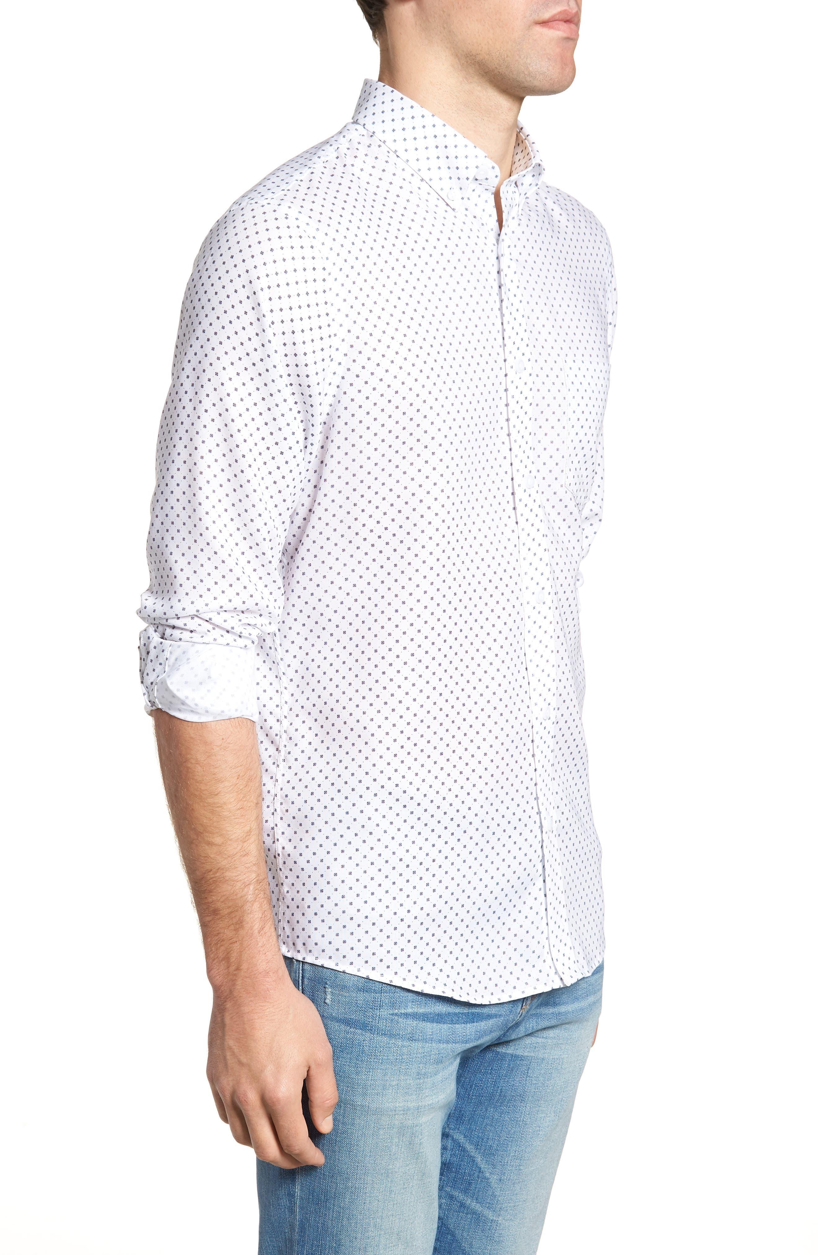 Regular Fit Dobby Print Sport Shirt,                             Alternate thumbnail 4, color,                             White Navy Dobby Print