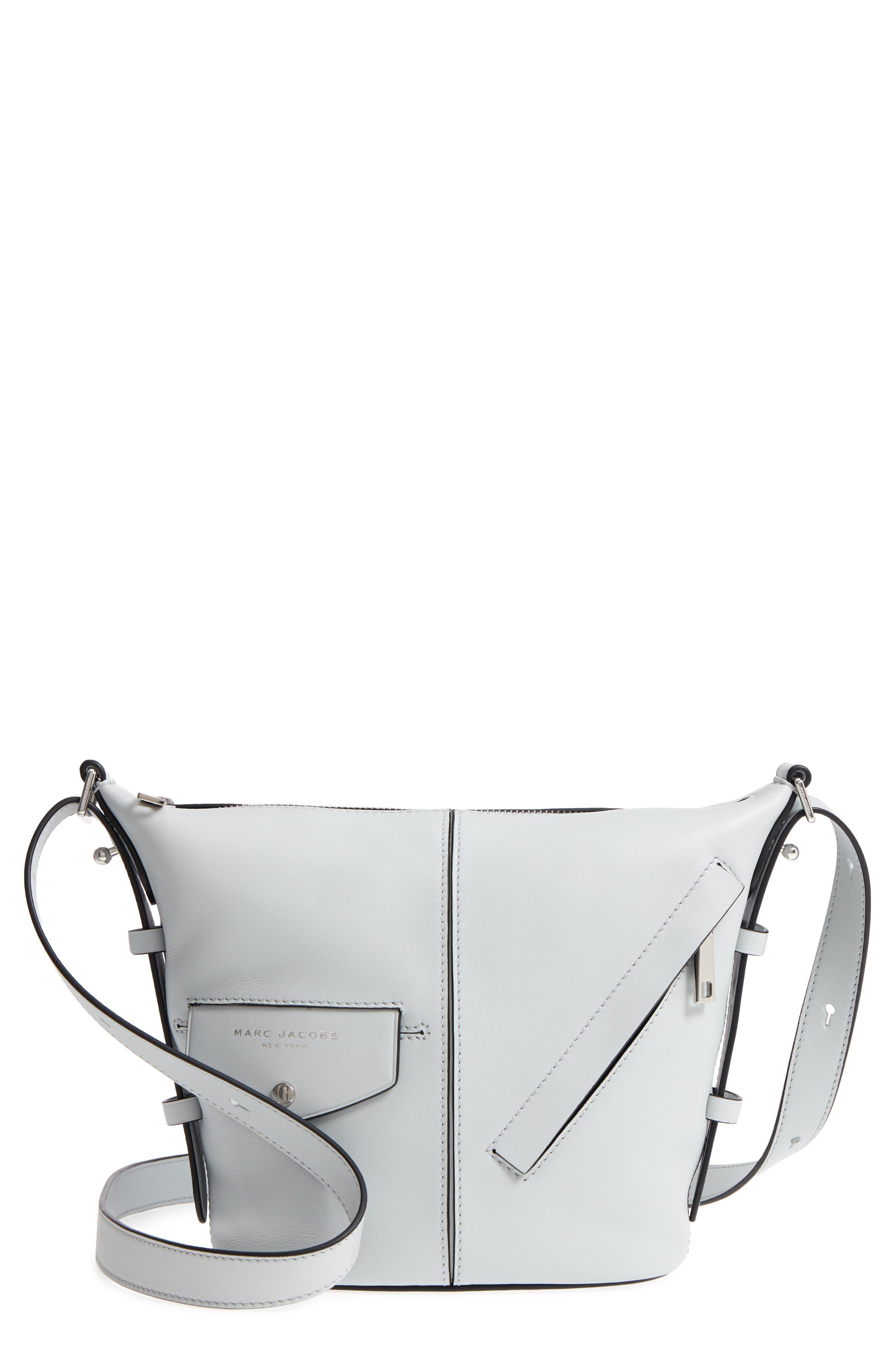 The Mini Sling Convertible Leather Hobo,                             Main thumbnail 1, color,                             Light Grey