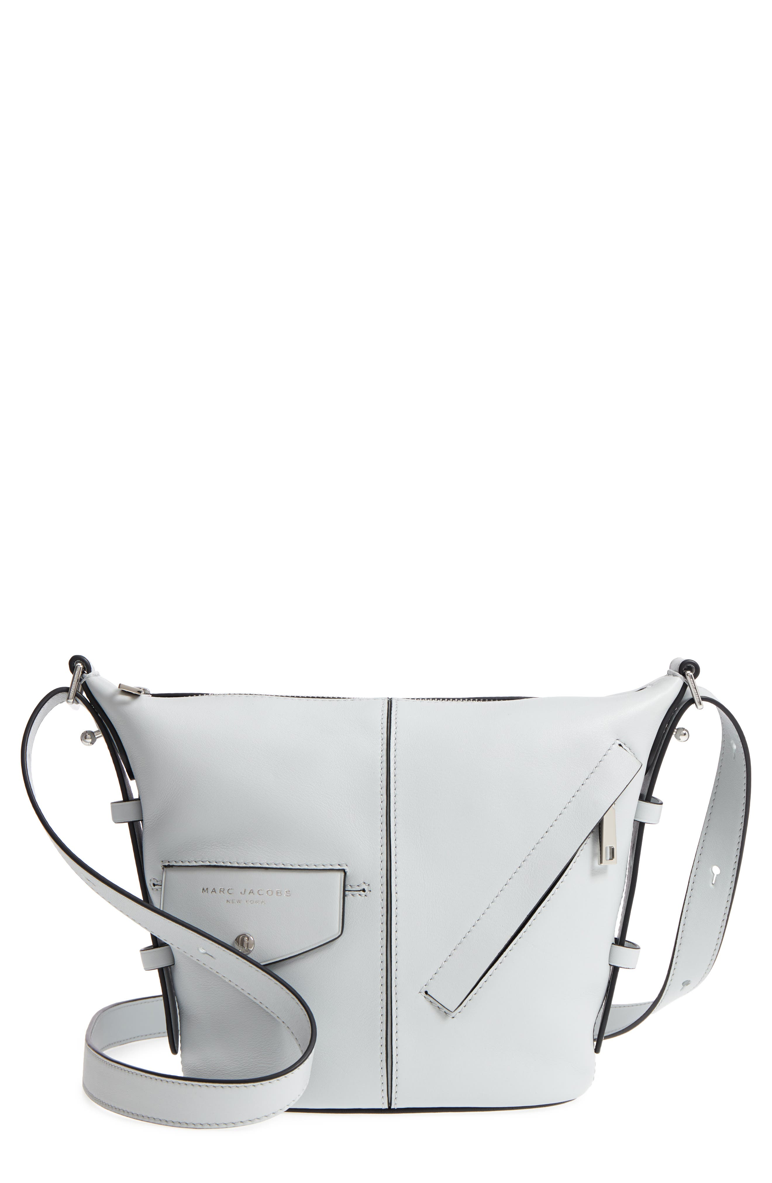 The Mini Sling Convertible Leather Hobo,                         Main,                         color, Light Grey