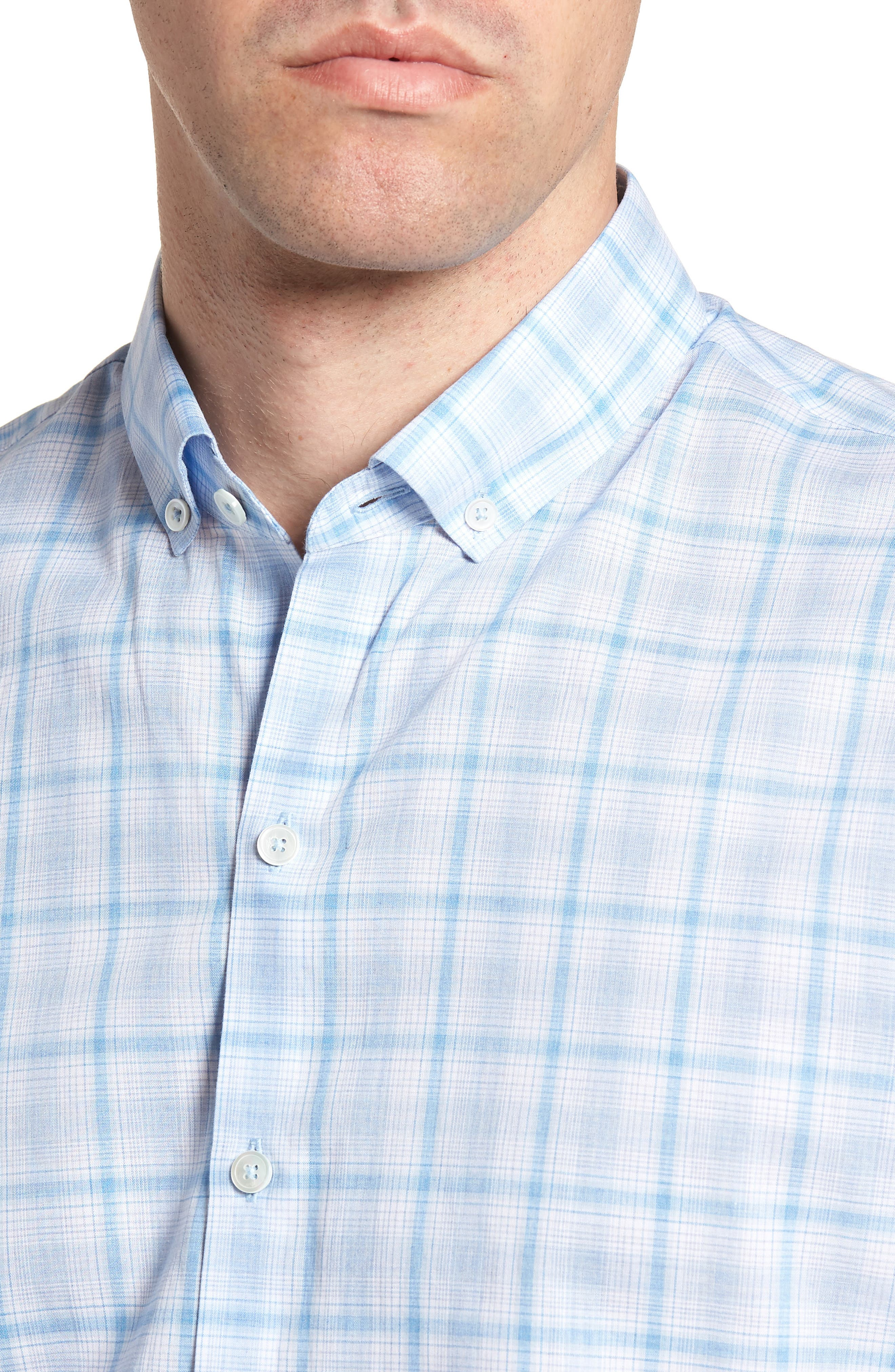 Kin Trim Fit Grid Plaid Sport Shirt,                             Alternate thumbnail 2, color,                             Light Blue