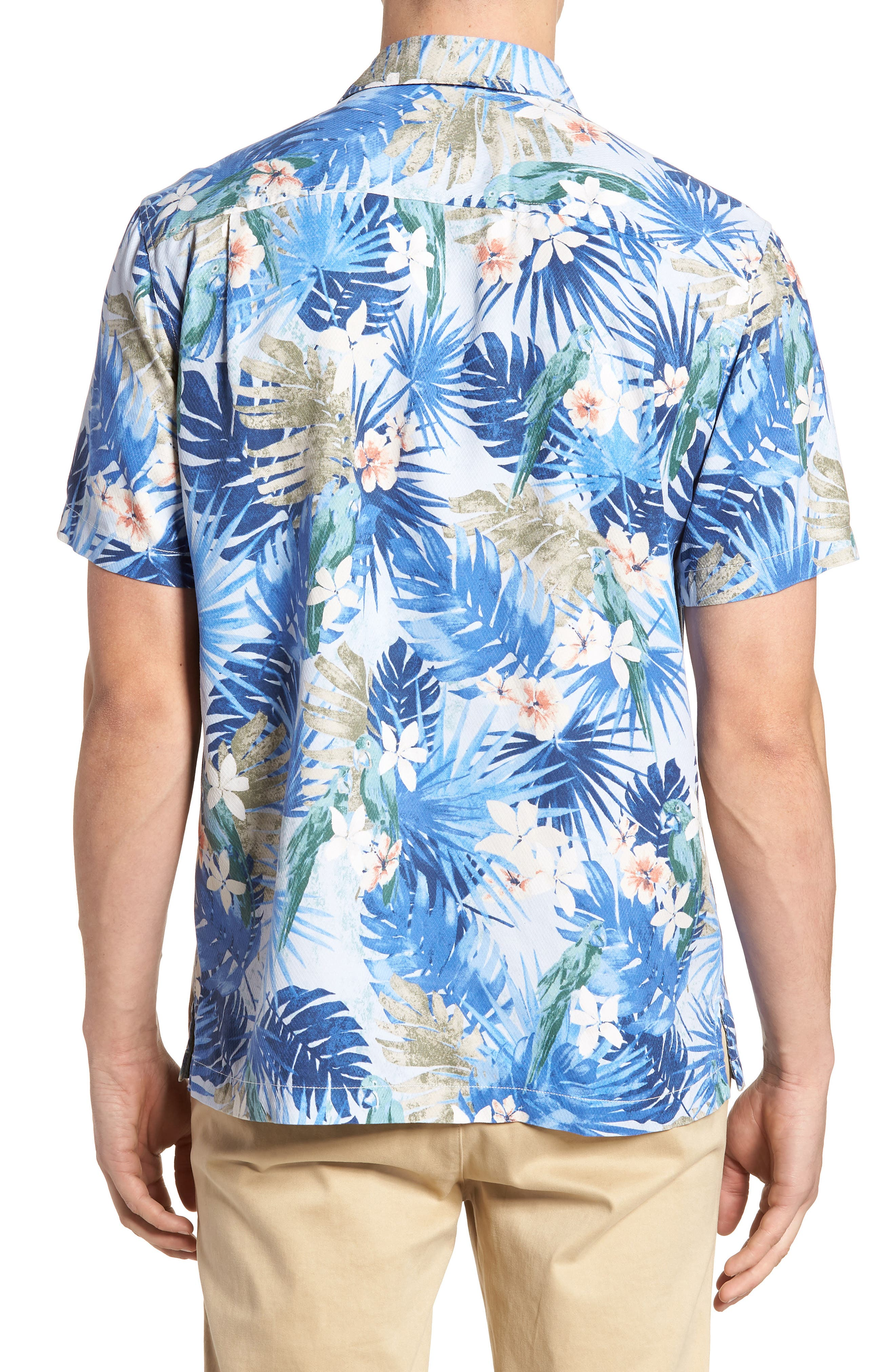 Marino Paradise Silk Camp Shirt,                             Alternate thumbnail 3, color,                             Sky Blue