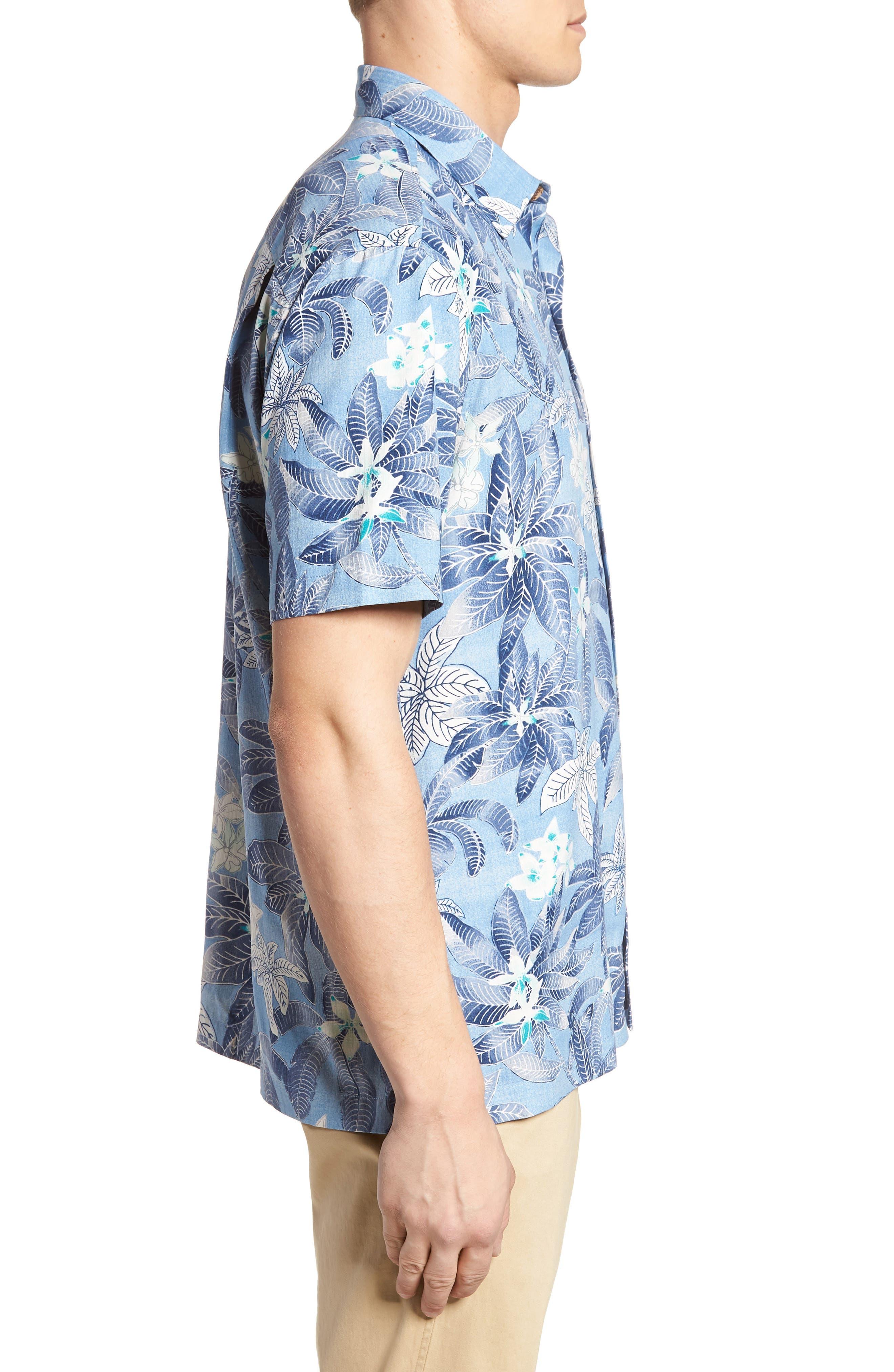El Medano Jungle Silk Camp Shirt,                             Alternate thumbnail 4, color,                             Blue Aster
