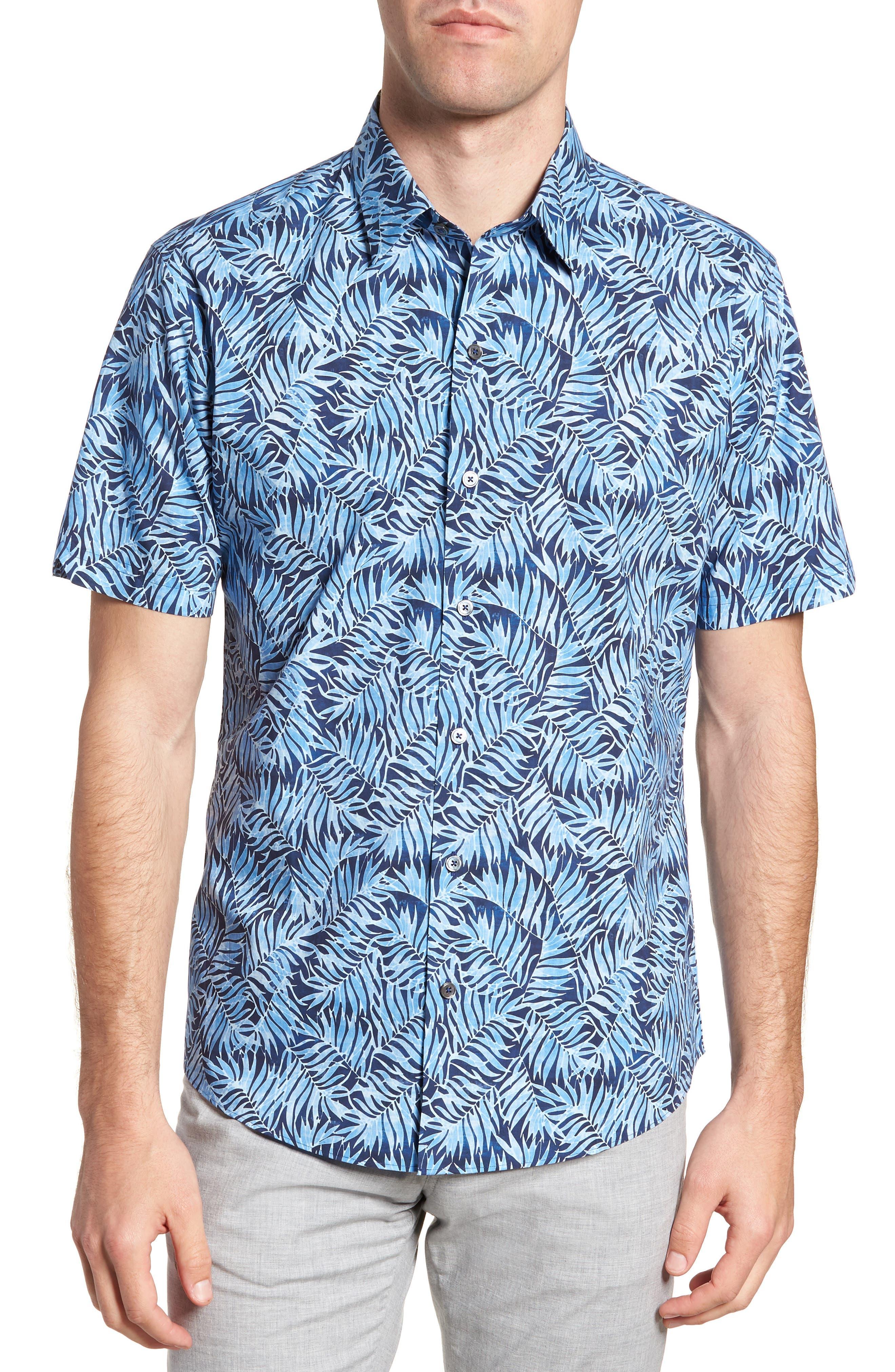 Slack Palm Print Sport Shirt,                         Main,                         color, Navy