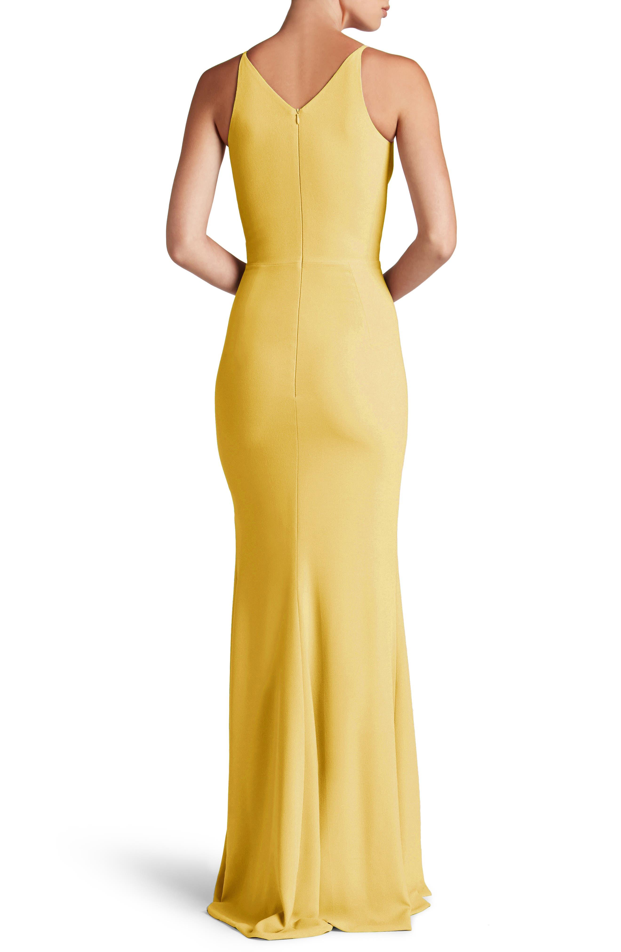 Iris Slit Crepe Gown,                             Alternate thumbnail 2, color,                             Sunflower
