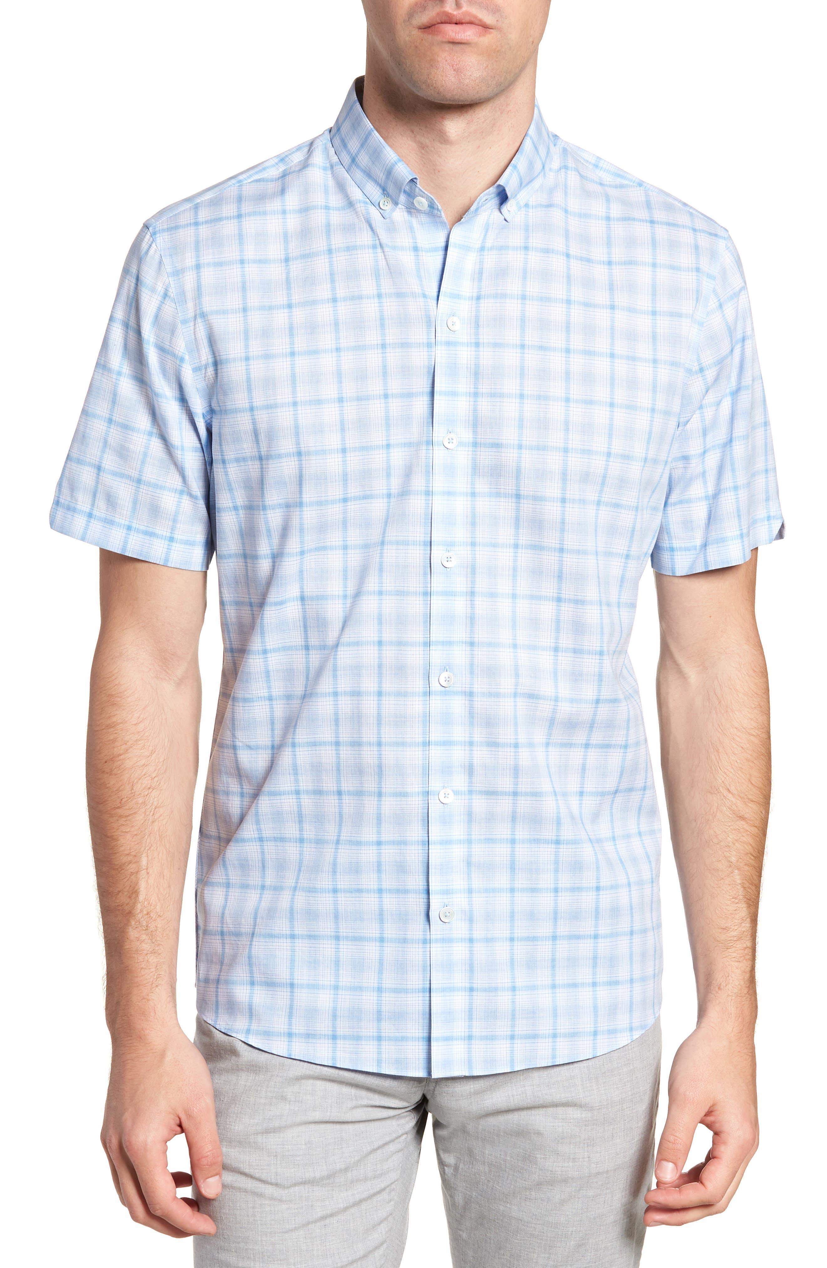 Kin Trim Fit Grid Plaid Sport Shirt,                         Main,                         color, Light Blue