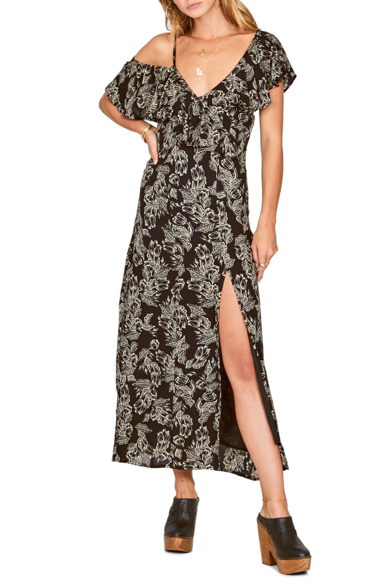 Midnight Flower Asymmetrical Maxi Dress,                             Main thumbnail 1, color,                             Black Sands