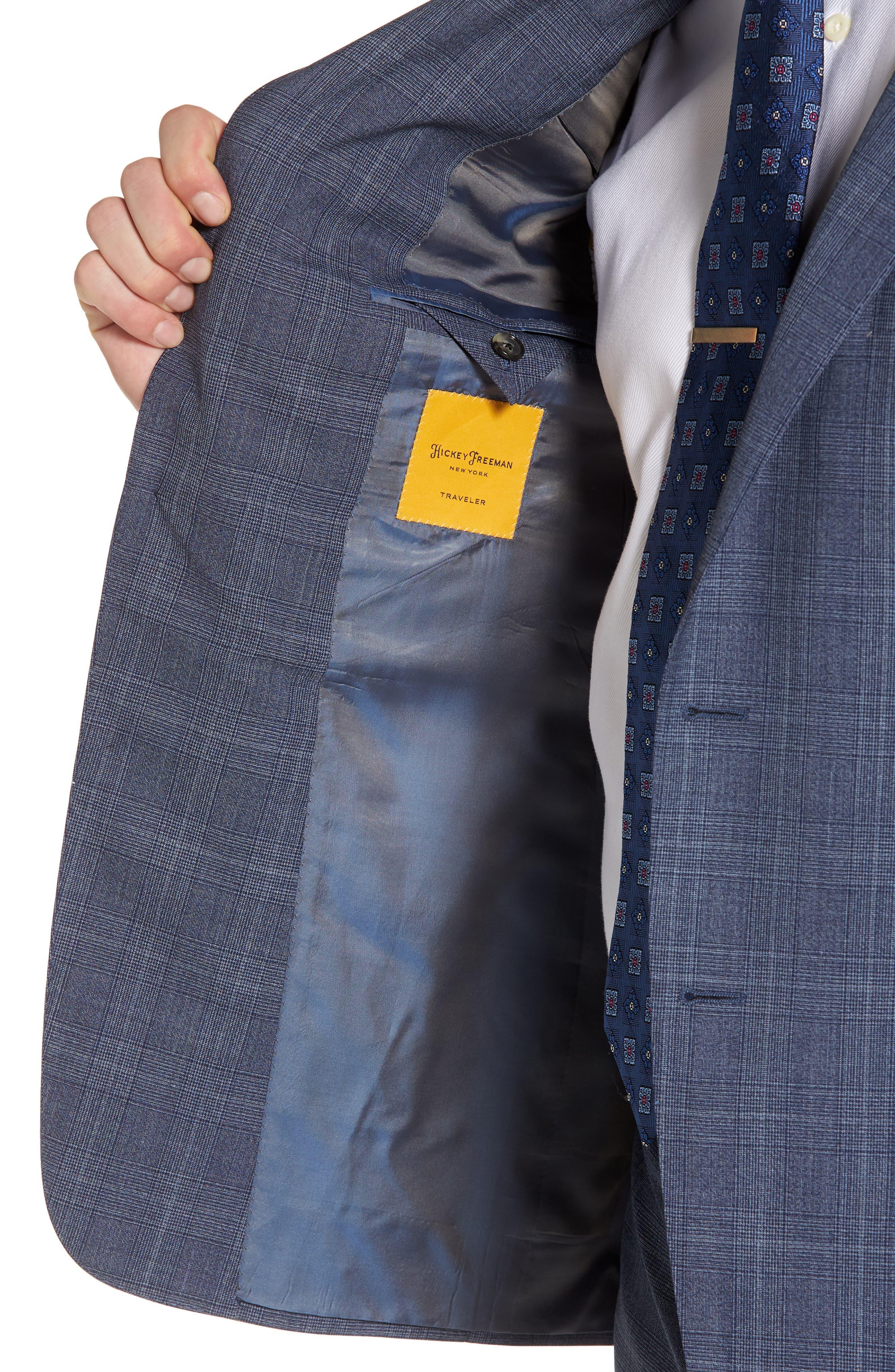 Classic B Fit Plaid Wool Suit,                             Alternate thumbnail 4, color,                             Blue