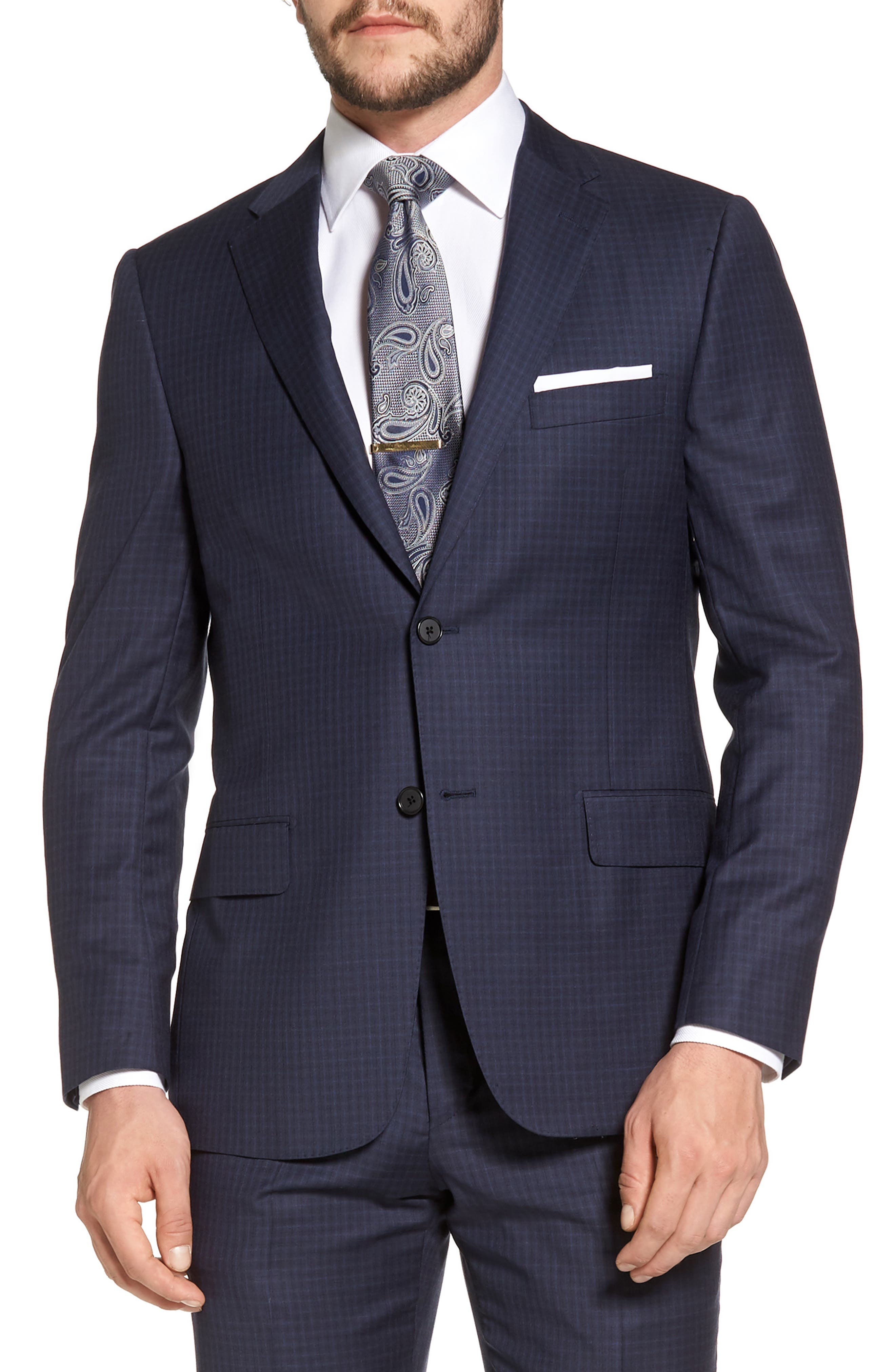 Classic B Fit Check Wool Suit,                             Alternate thumbnail 5, color,                             Navy