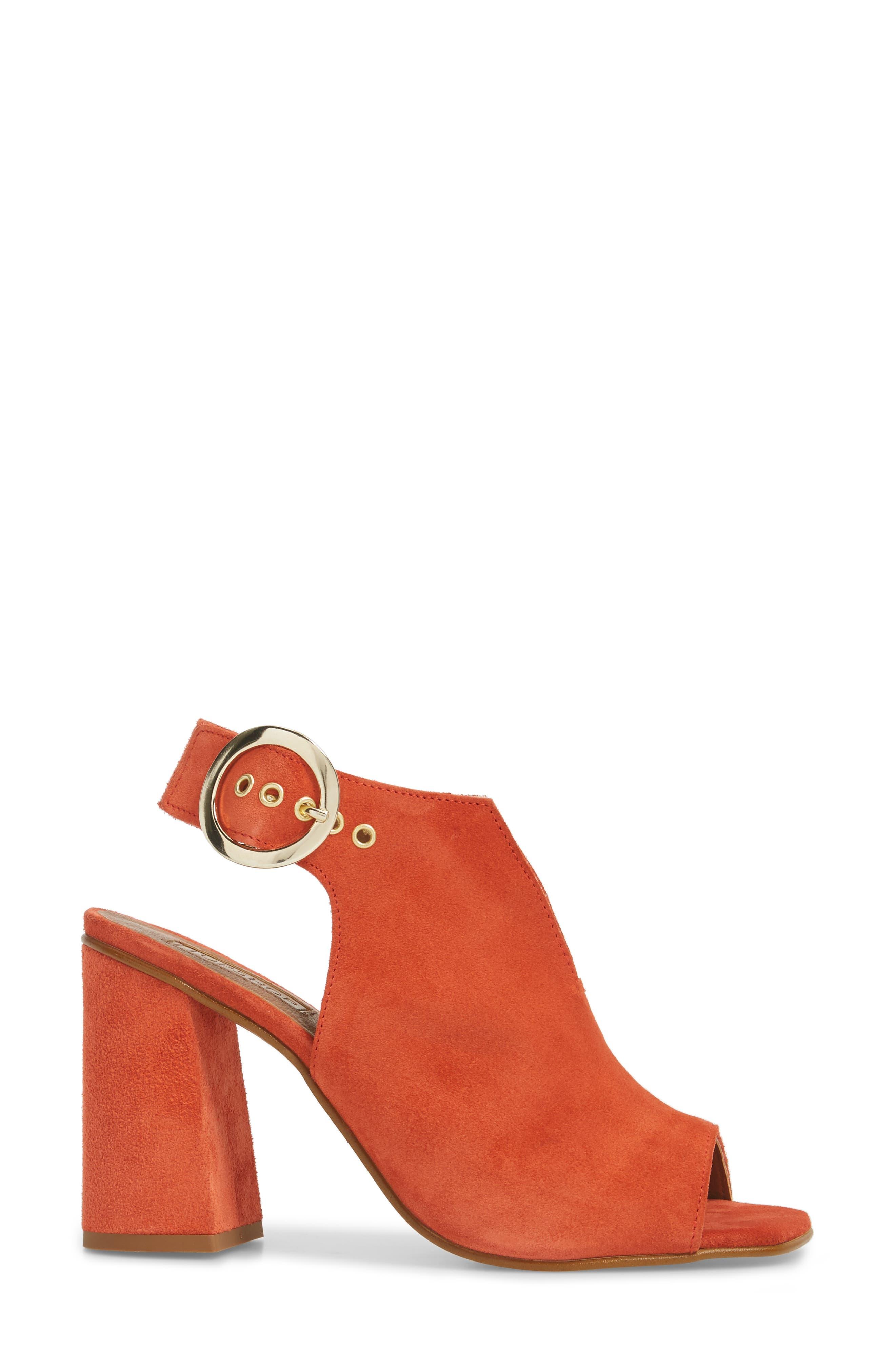 Nika Flared Heel Slingback Sandal,                             Alternate thumbnail 3, color,                             Orange