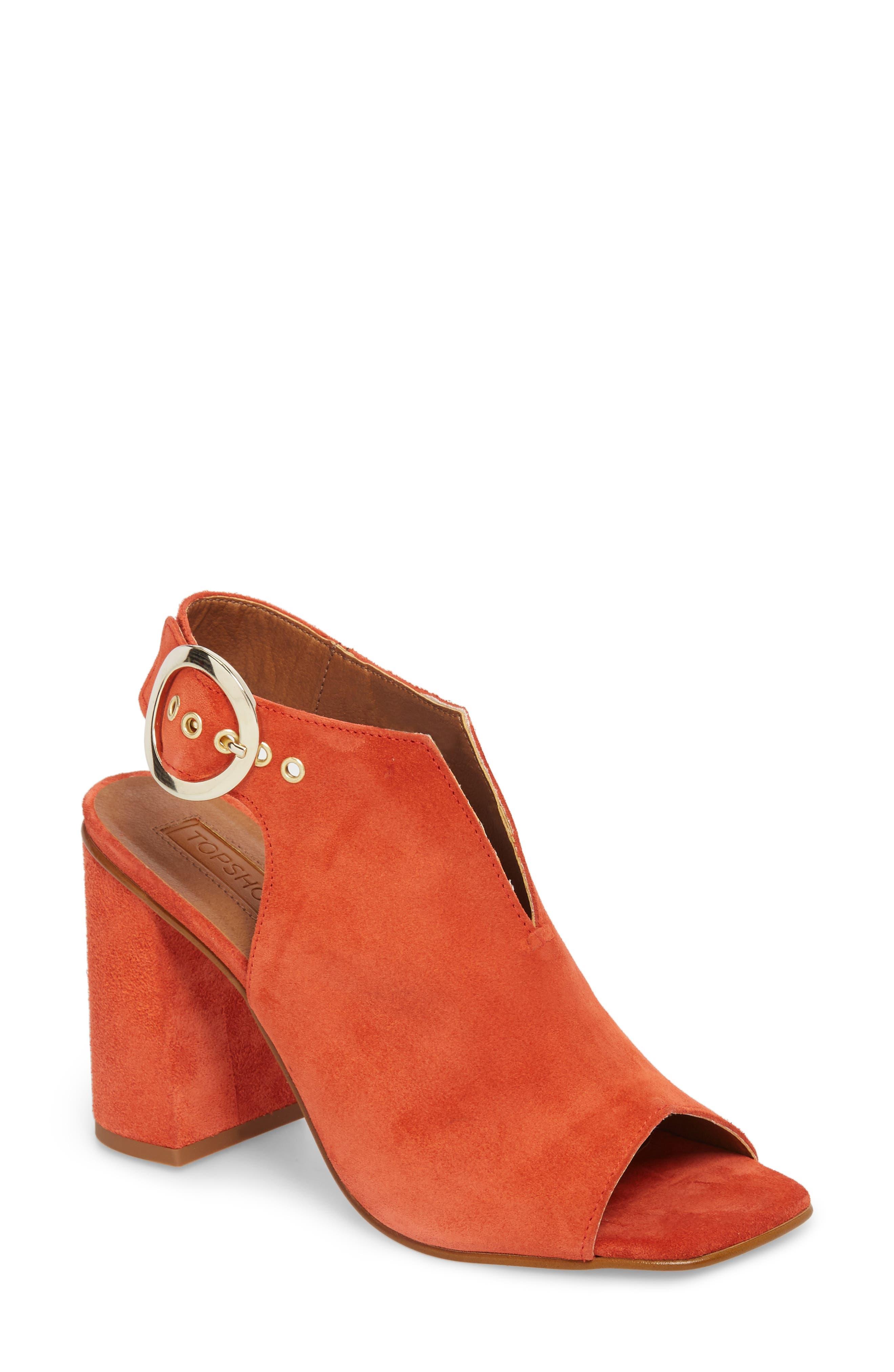 Nika Flared Heel Slingback Sandal,                         Main,                         color, Orange